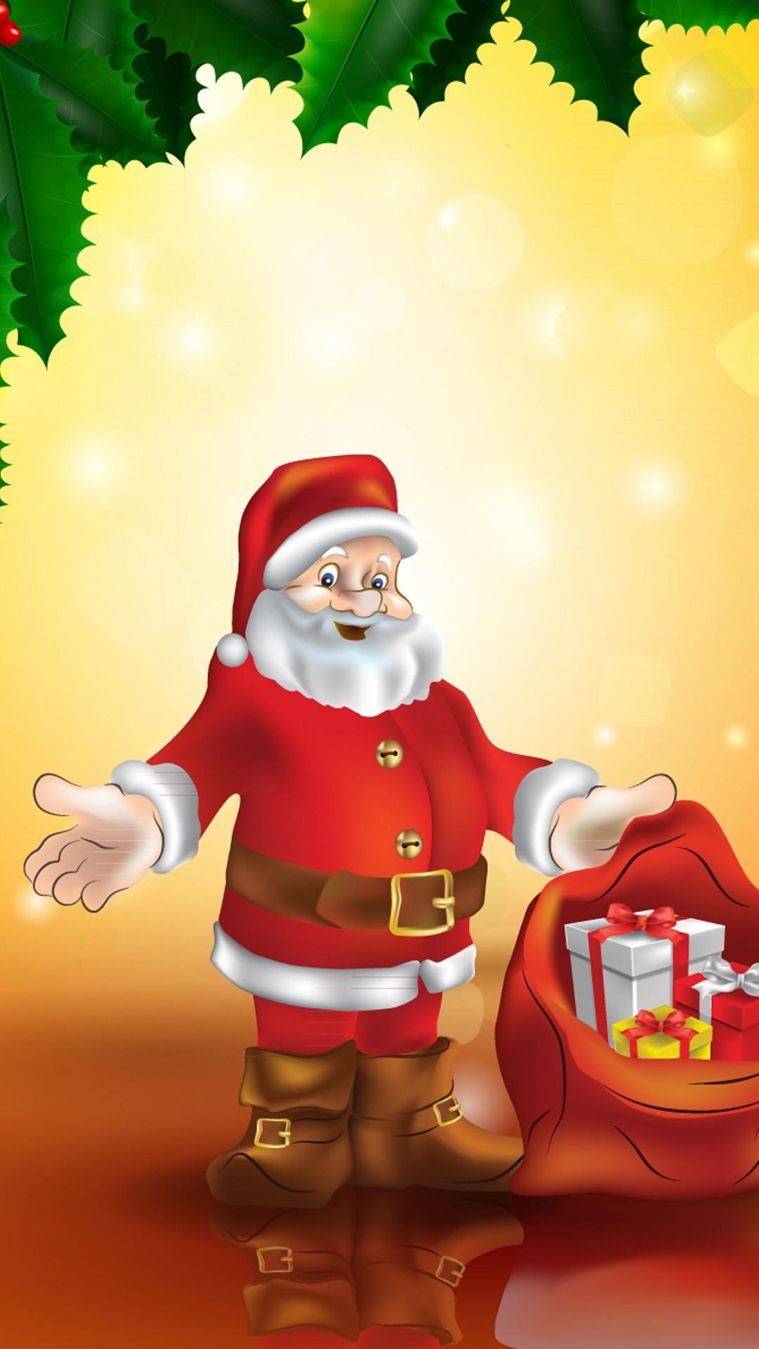 cute Christmas 2015 Santa under the tree iPhone 6 plus wallpaper . …