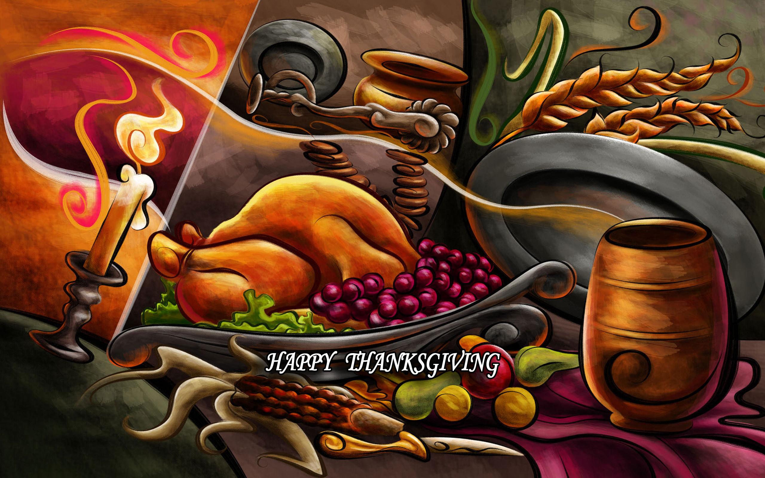 Thanksgiving Dinner Desktop Wallpaper.