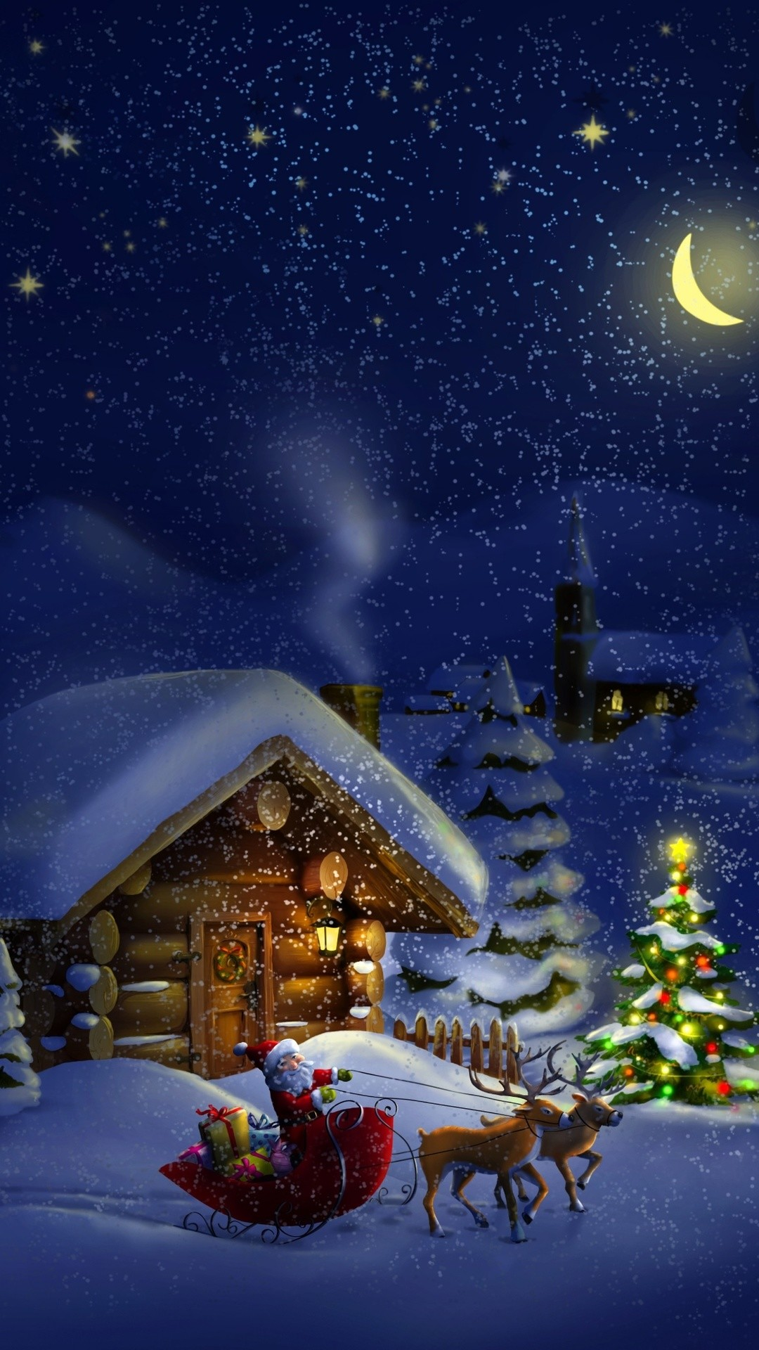 Christmas night with Santa 4K Ultra HD wallpaper | 4k .