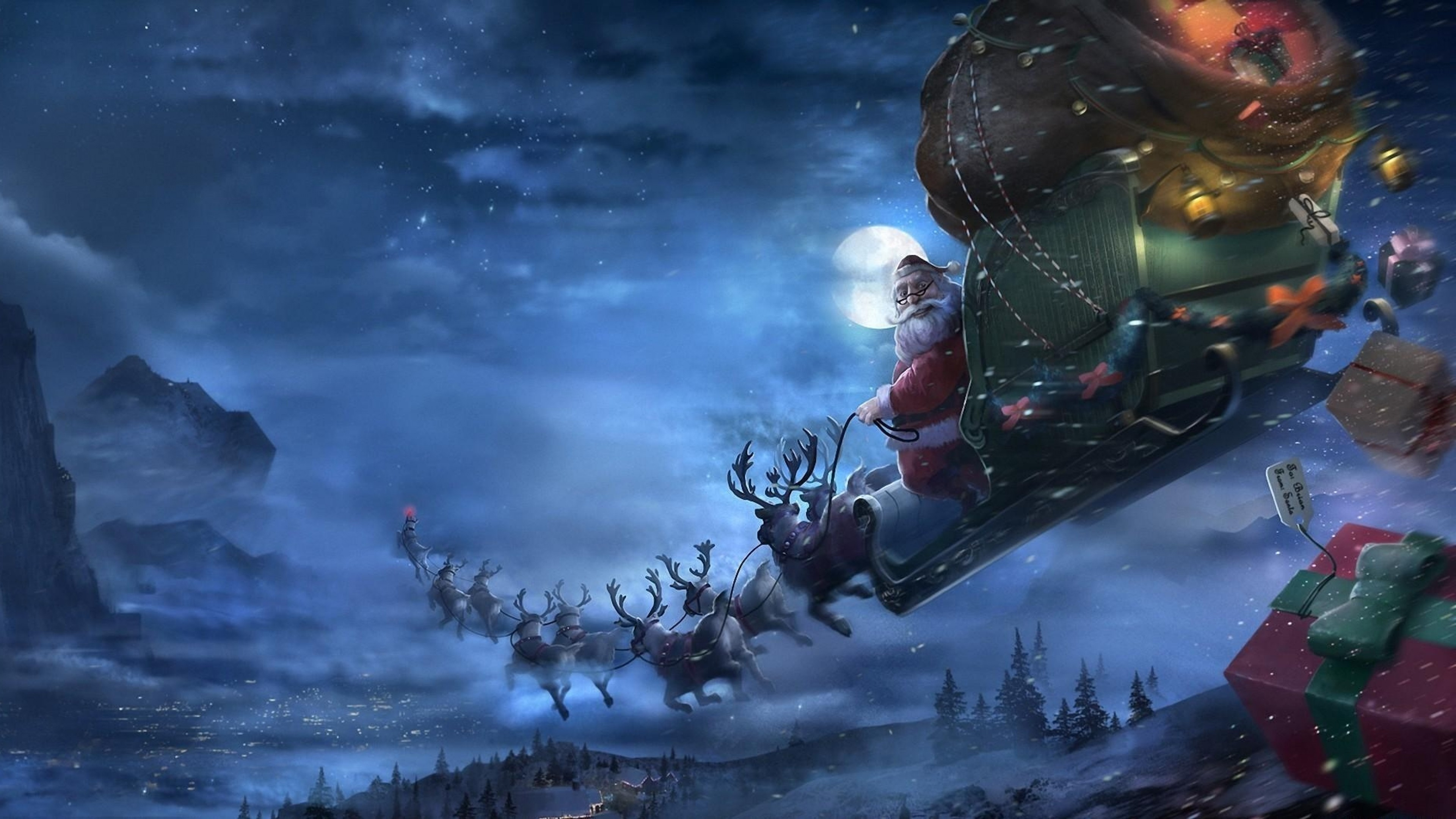 Preview wallpaper santa claus, reindeer, sleigh, flying, gifts, christmas  3840×2160