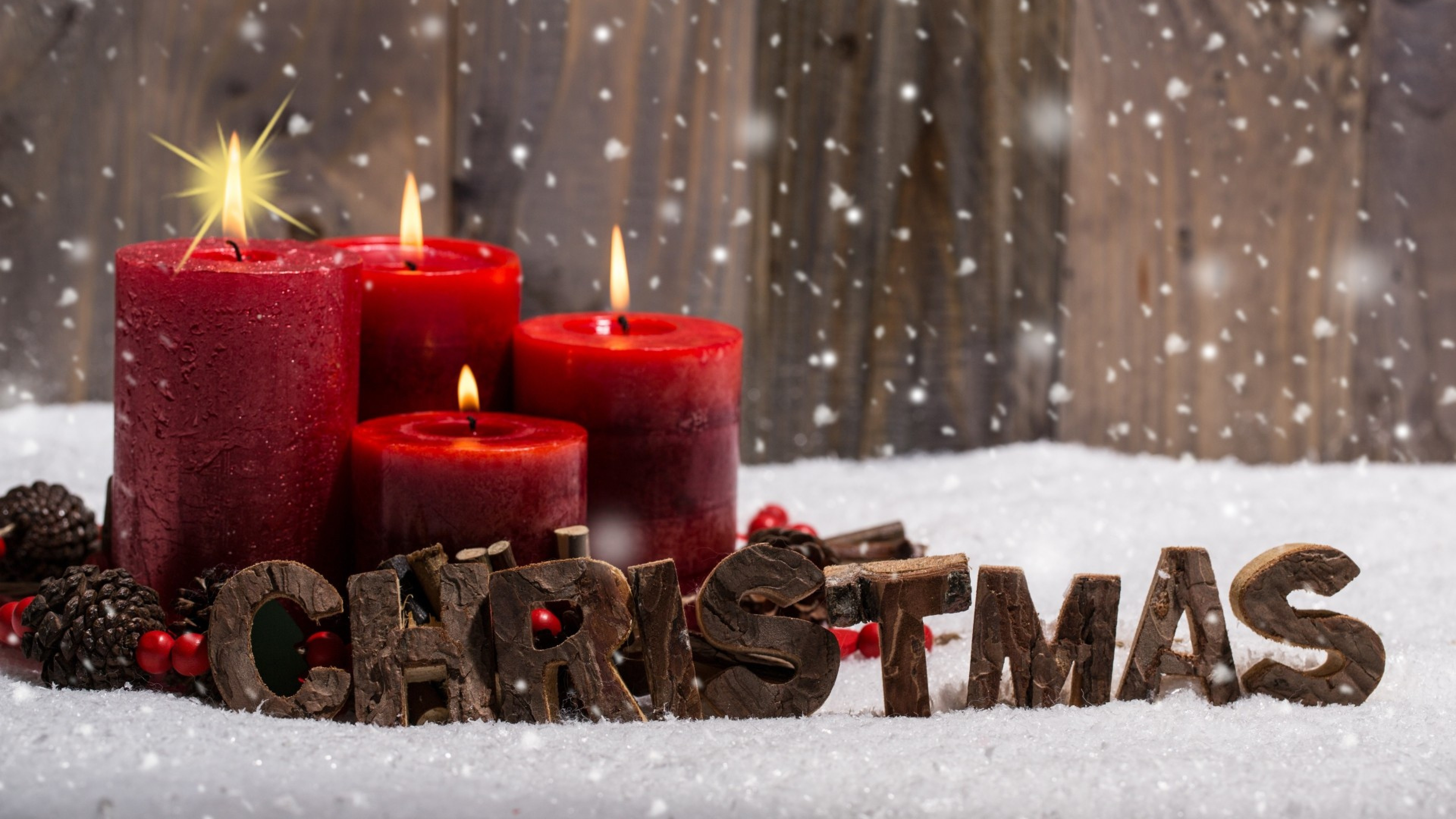 … Background 4K Ultra HD. Wallpaper christmas, candles, snow