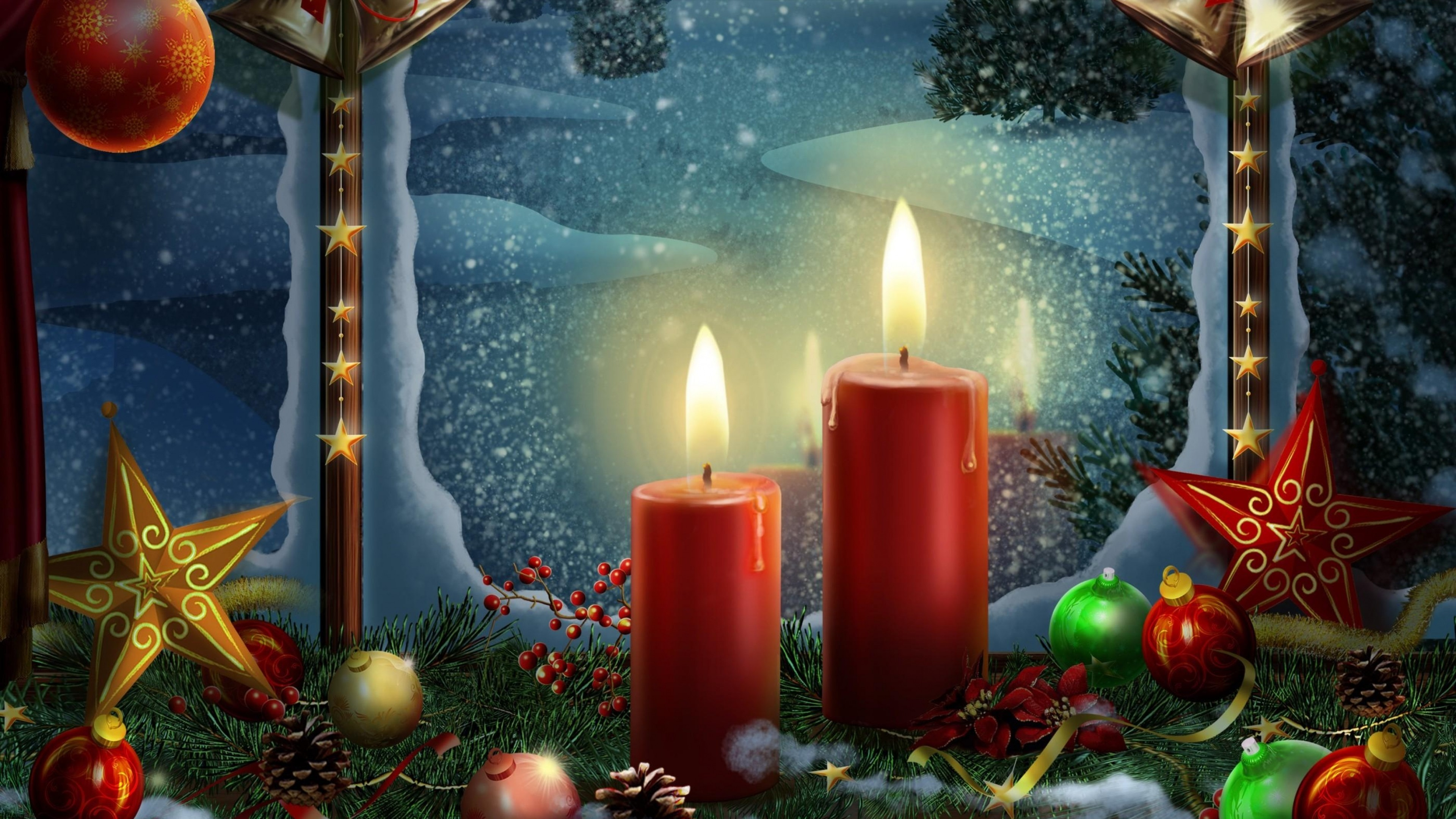 … Background 4K Ultra HD. Wallpaper new year, holiday candles,  postcards, toys, stars, christmas
