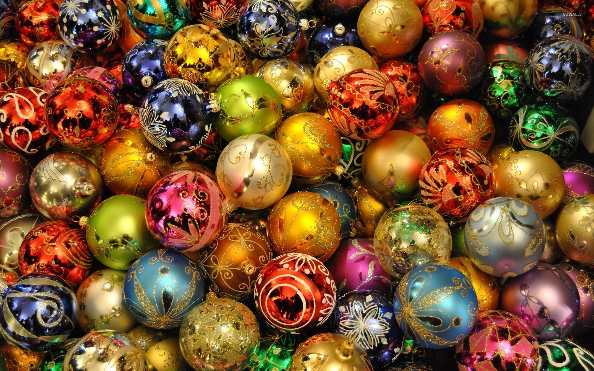 … Christmas Lights Reflecting In The Colorful Baubles Wallpaper. Download