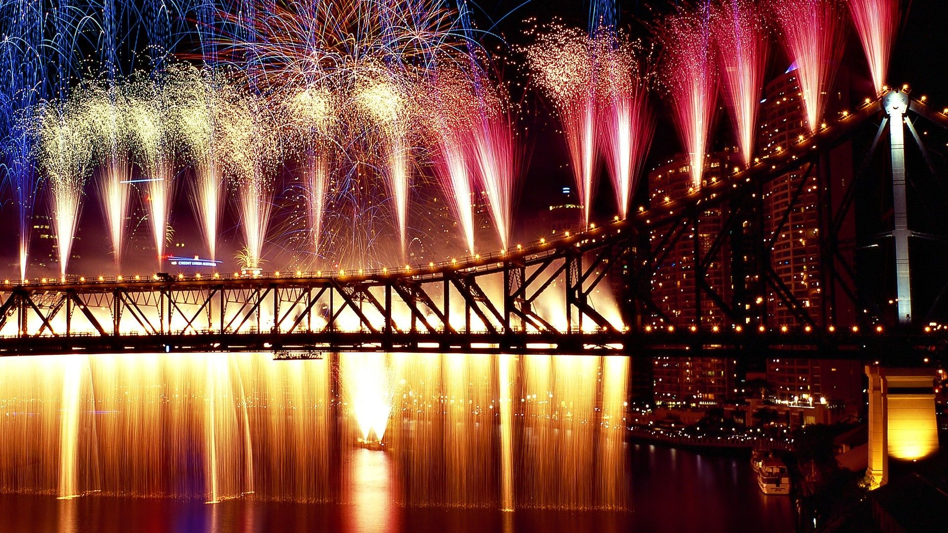 Impressive Fireworks HD Wallpaper in Full HD from the of July, Holidays  category. Tags: of july, bridge, Fireworks