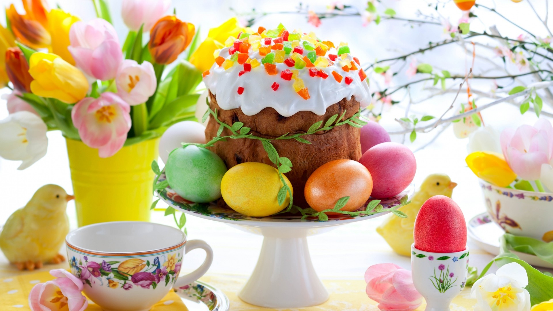 Preview wallpaper easter, egg, table, layout, holiday 1920×1080