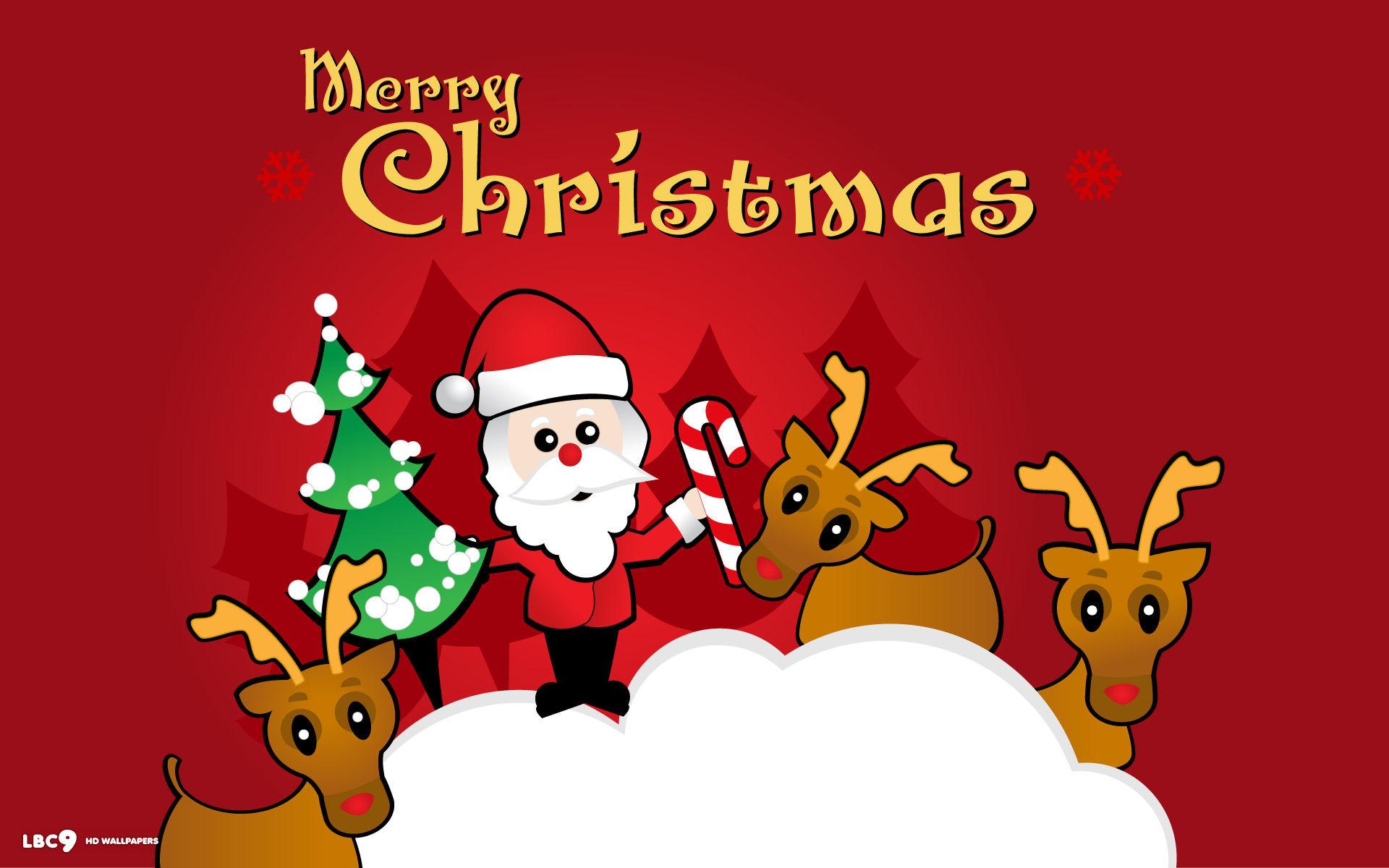 merry christmas santa claus reindeers rudolph cartoon vector art holiday  desktop wallpaper