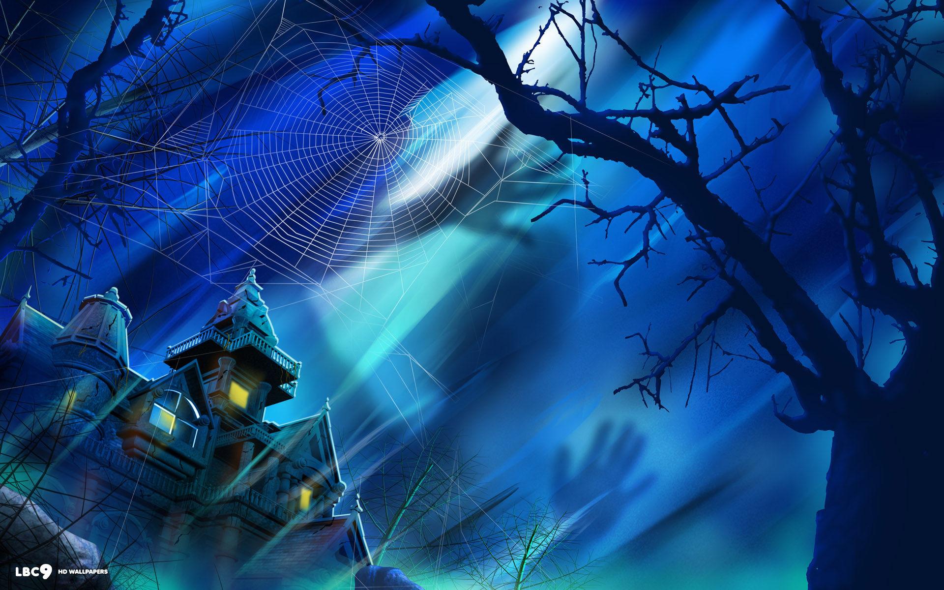 halloween house spider web tree shadow moonlight holiday desktop wallpaper