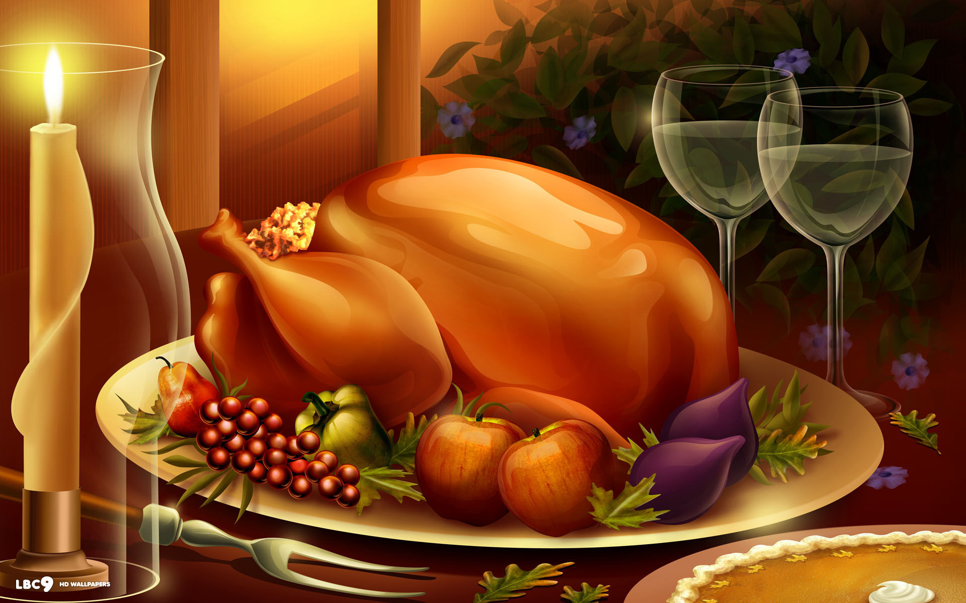… thanksgiving dinner meal large roasted turkey food candles wine pie holiday  desktop wallpaper