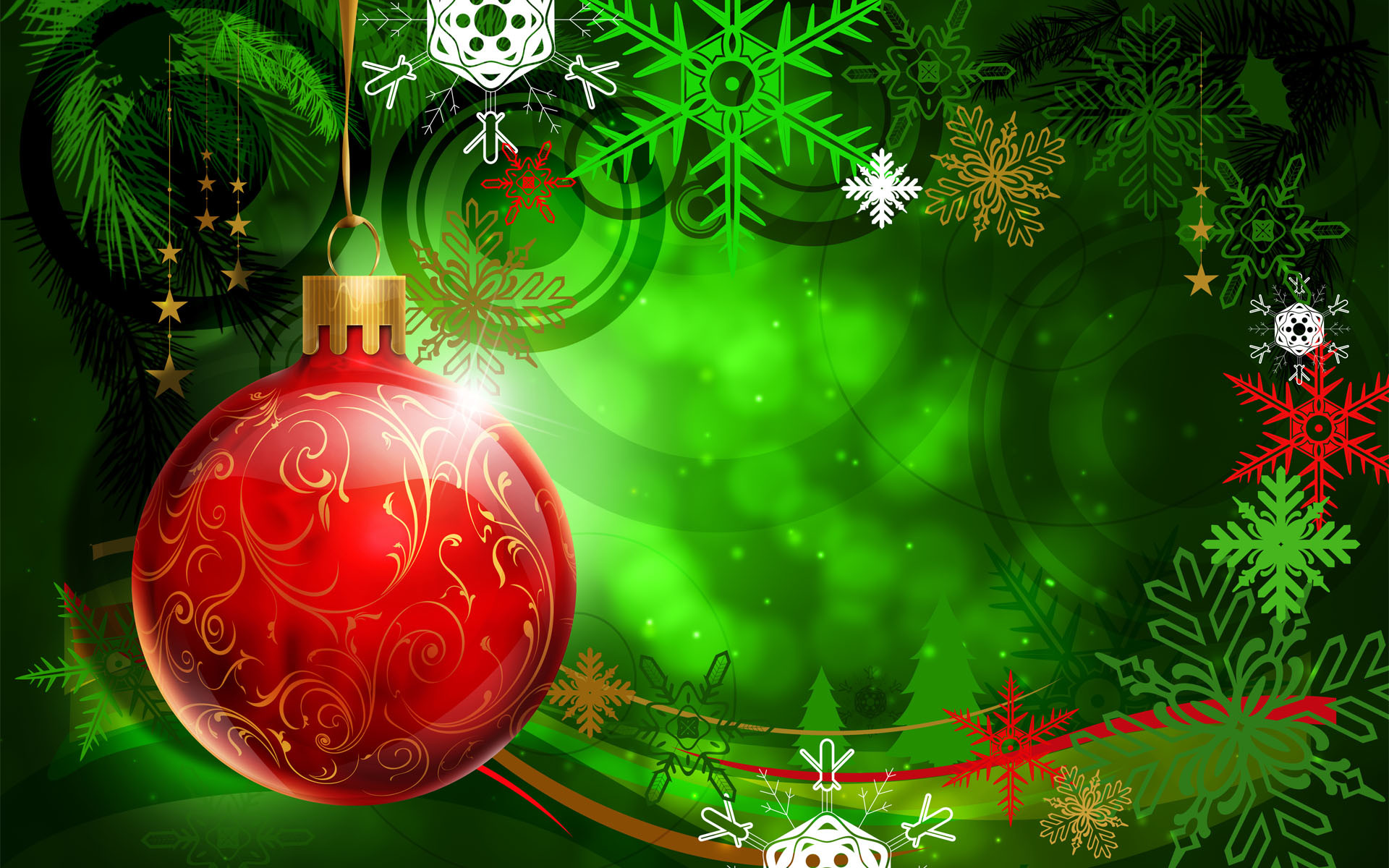Red Christmas Ball on Green Background Wallpapers – HD Wallpapers 16426