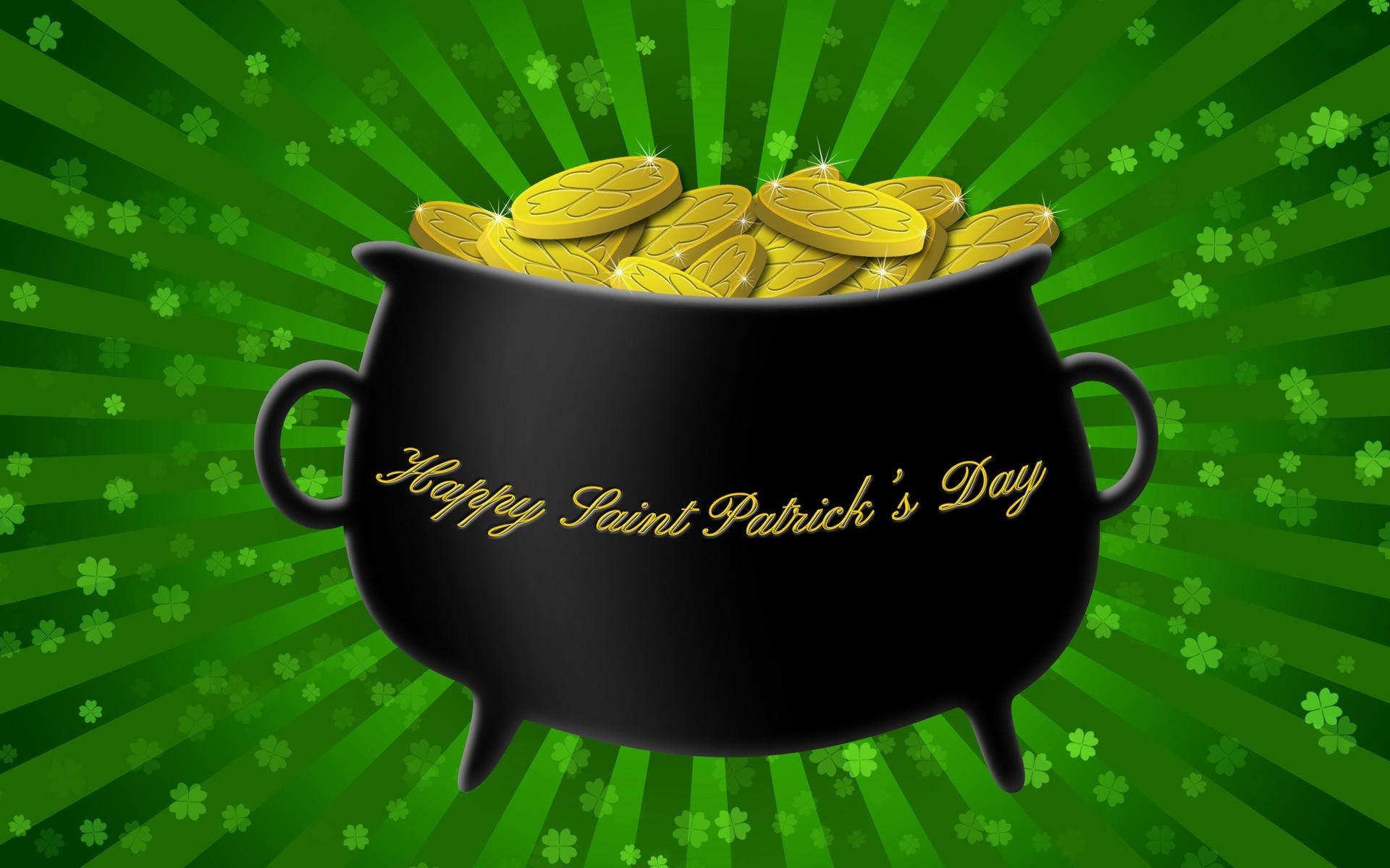 Happy St. Patrick's Day gold pot wallpaper