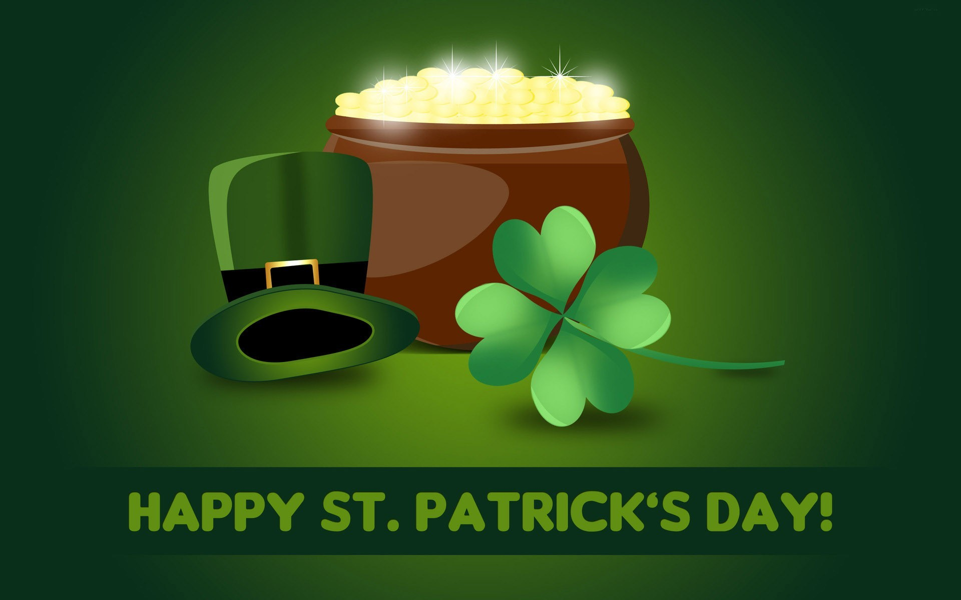 Happy St. Patrick's Day hat with gold pot wallpaper