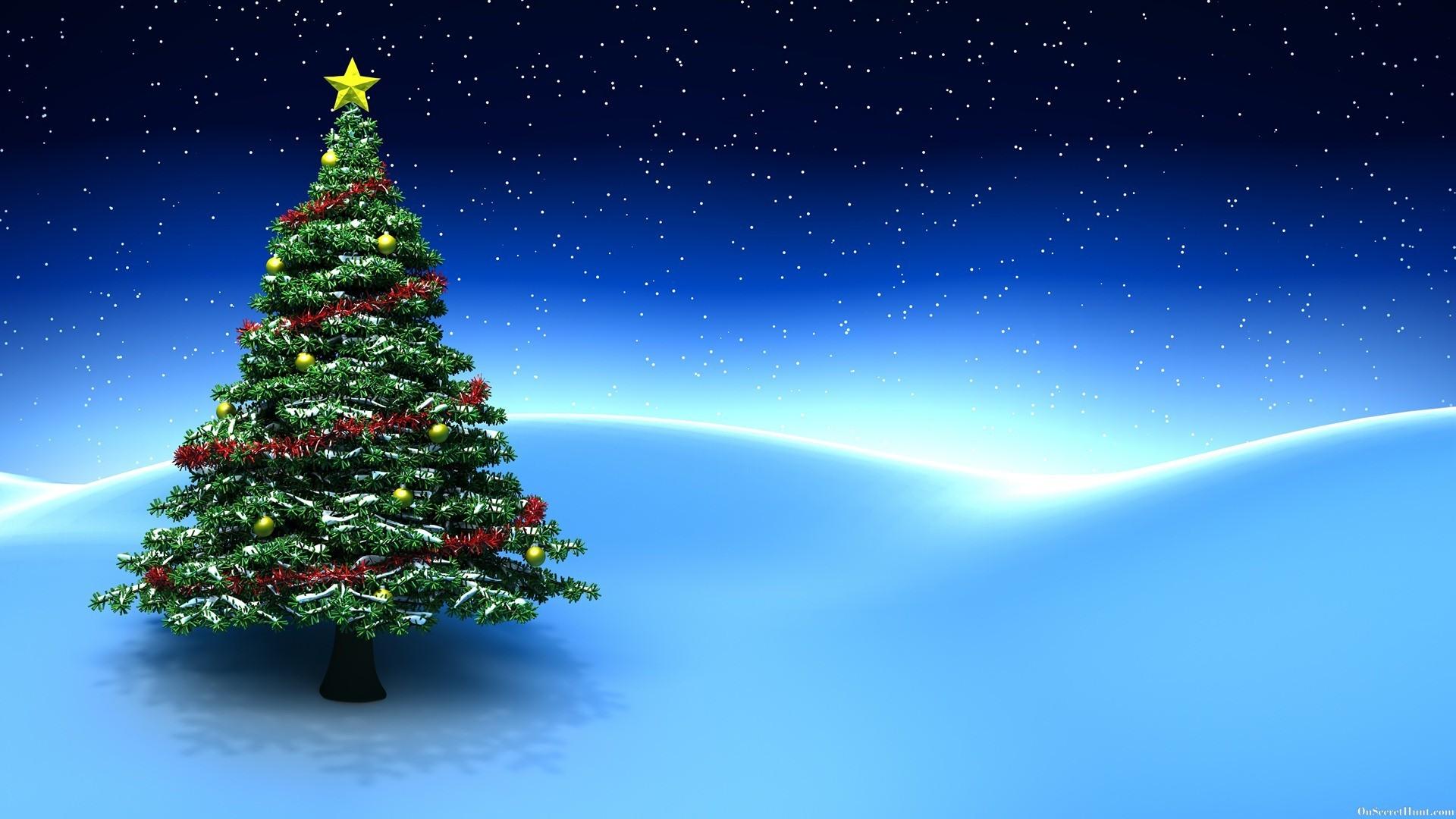 3D Christmas Tree Blue Background Desktop Wallpaper