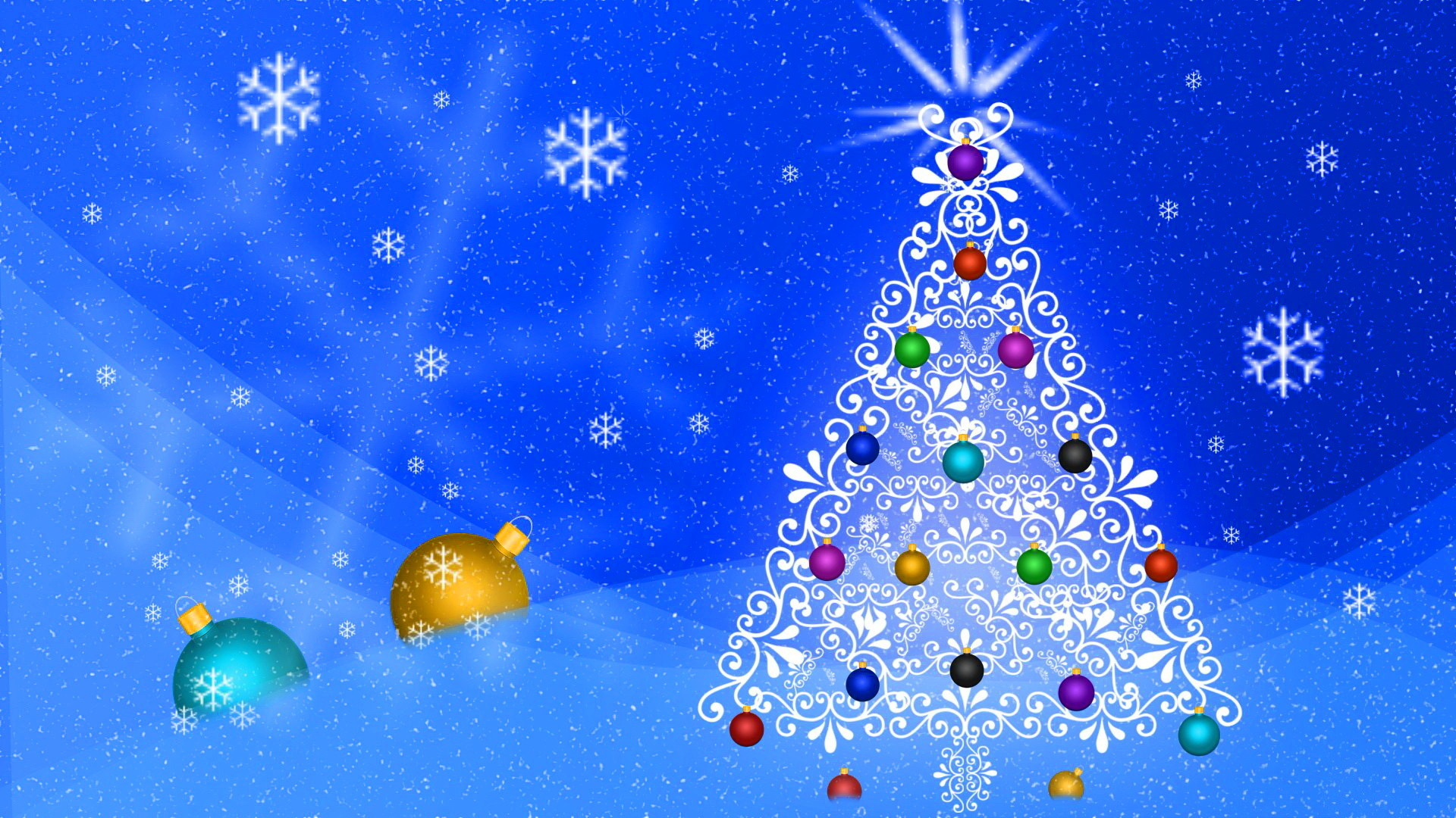 … Abstract Christmas Tree Blue Background