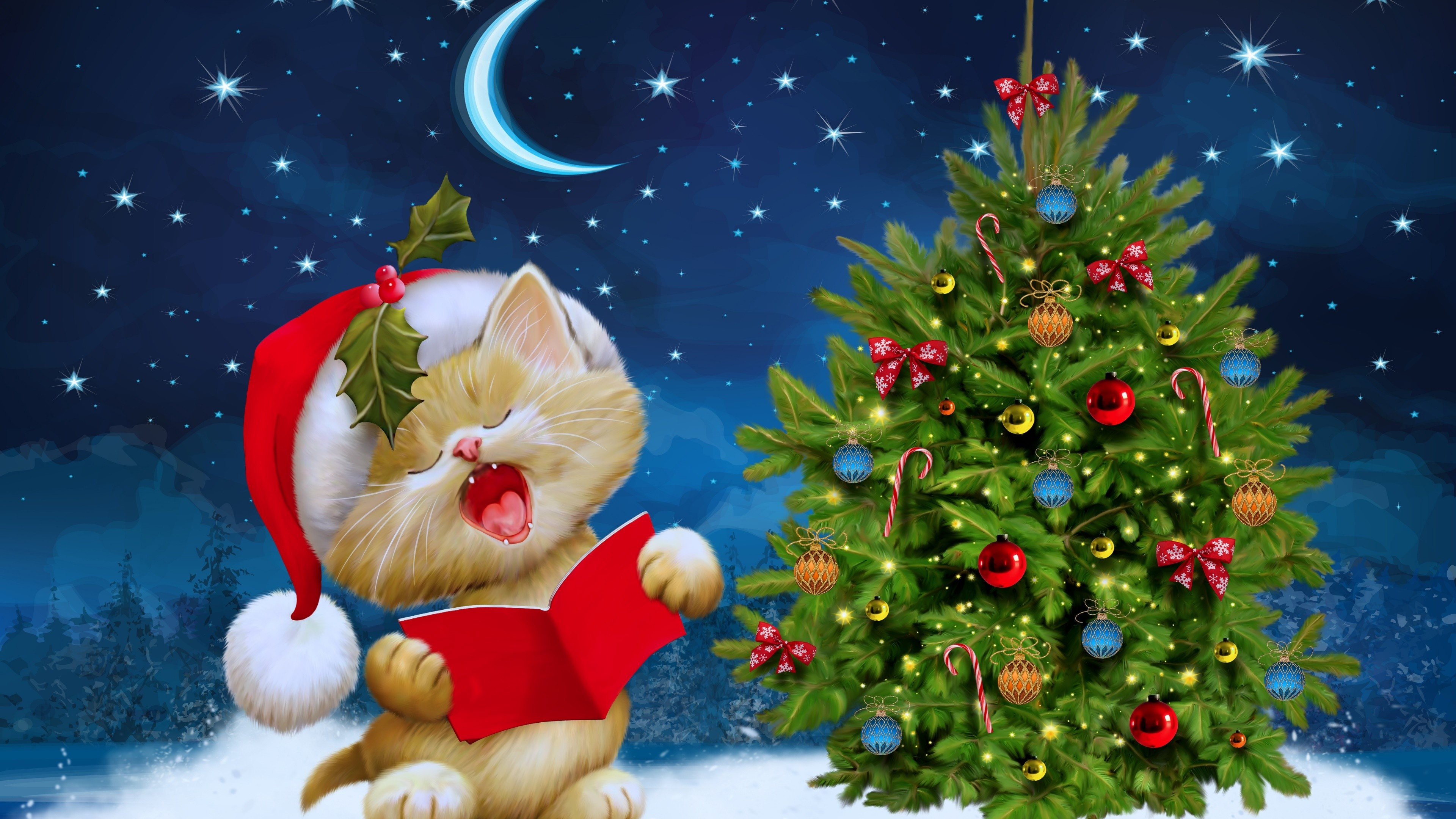 Christmas Tree with kitty high definition wallpapers free download