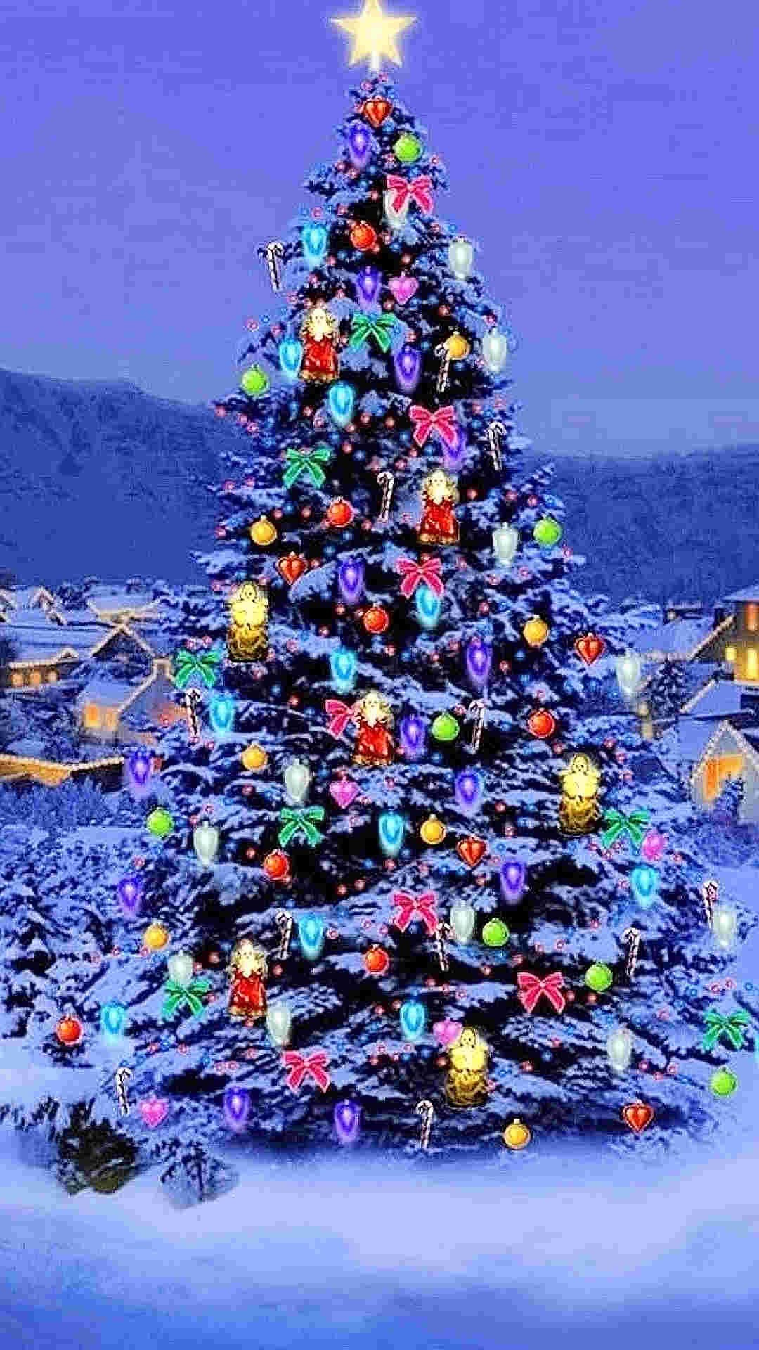 bling bling Christmas tree with star iPhone 6 plus wallpaper #2014 # Christmas #Tree