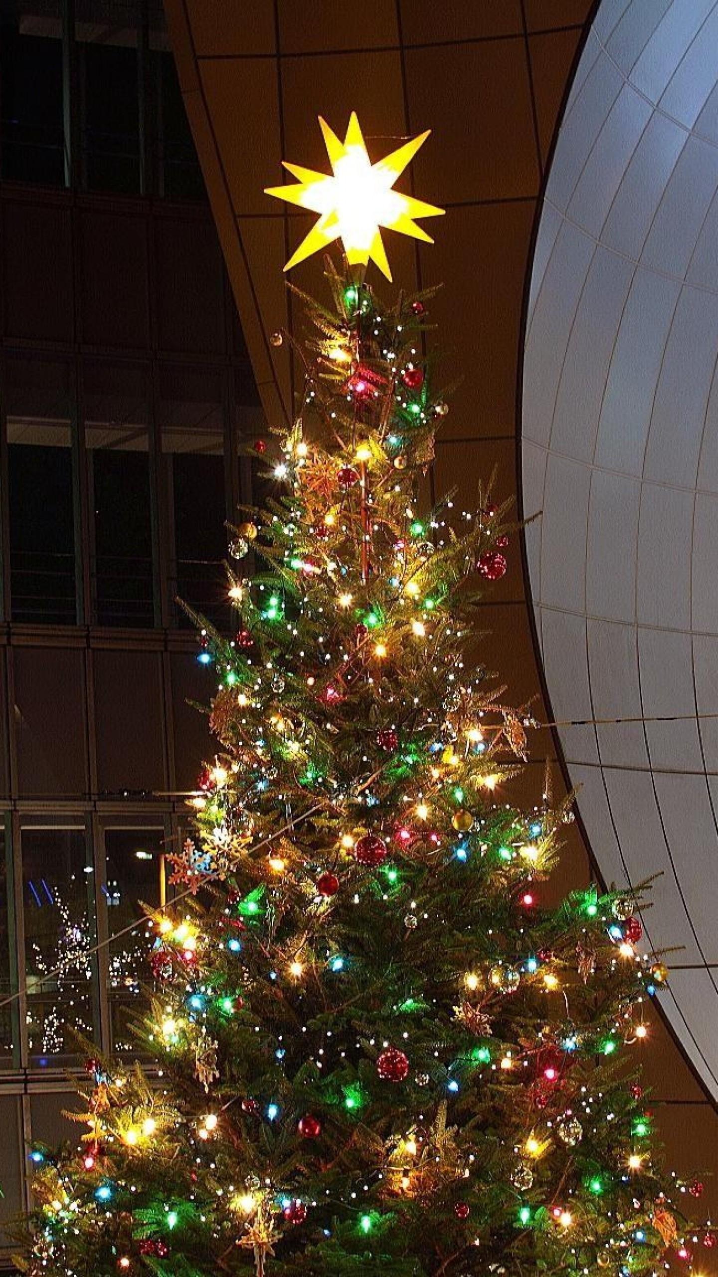 Wallpaper christmas tree, garland, building, star, new year,  christmas