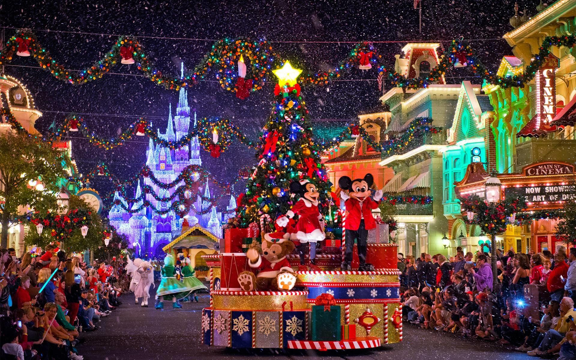 Disney Christmas Parade on Main Street widescreen wallpaper | Wide-