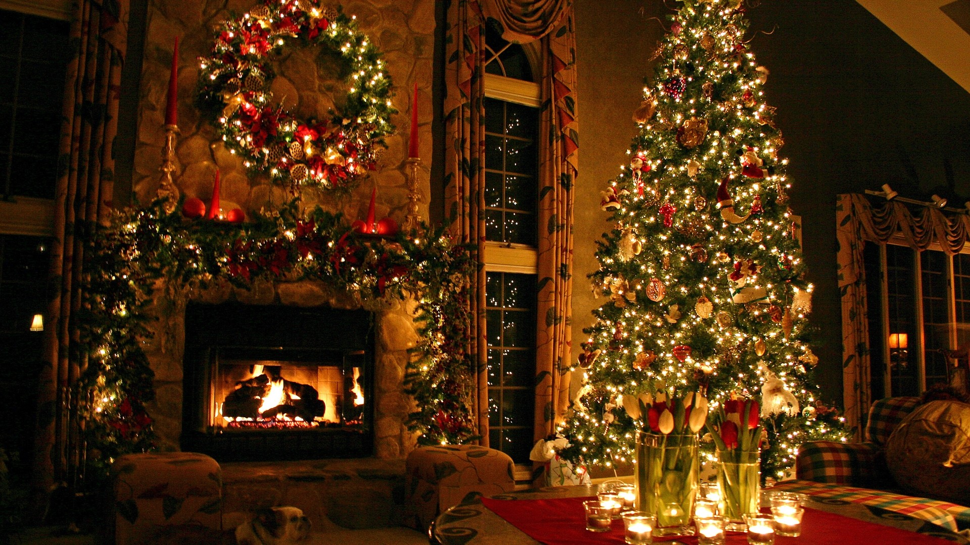Preview wallpaper tree, house, new year, celebration 1920×1080
