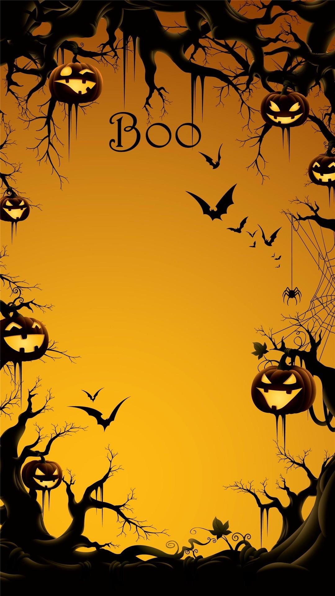2014 Boo Halloween iPhone 6 plus wallpaper with pumpkin on the tree – bats  #2014