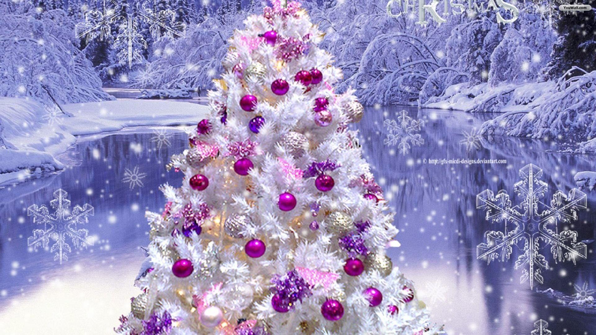 YouWall – Pink Christmas Tree Wallpaper – wallpaper,wallpapers .