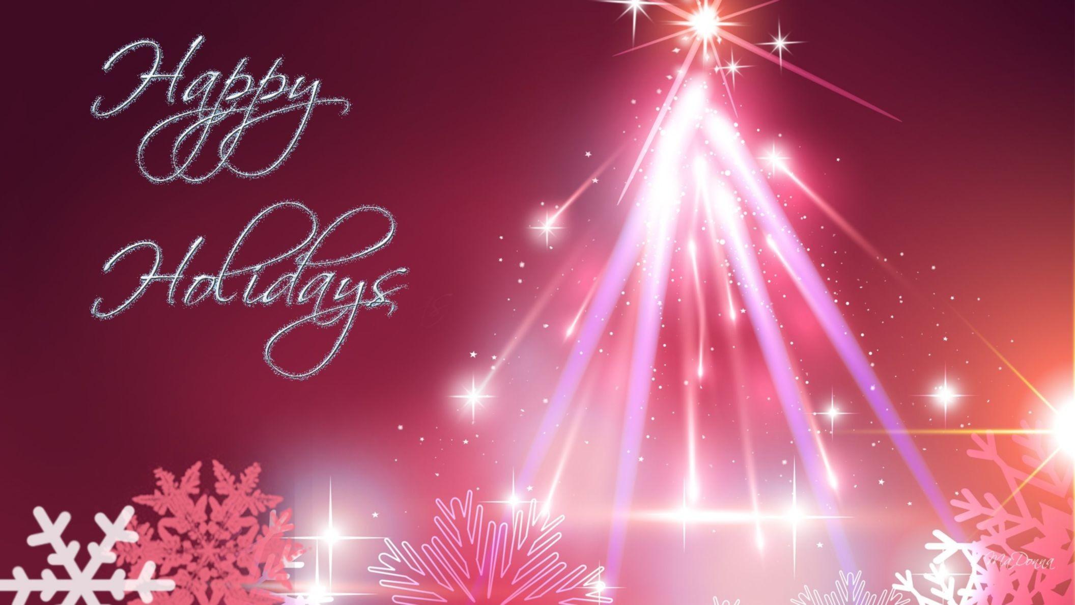Pink Christmas Tree Happy Holiday Wallpaper