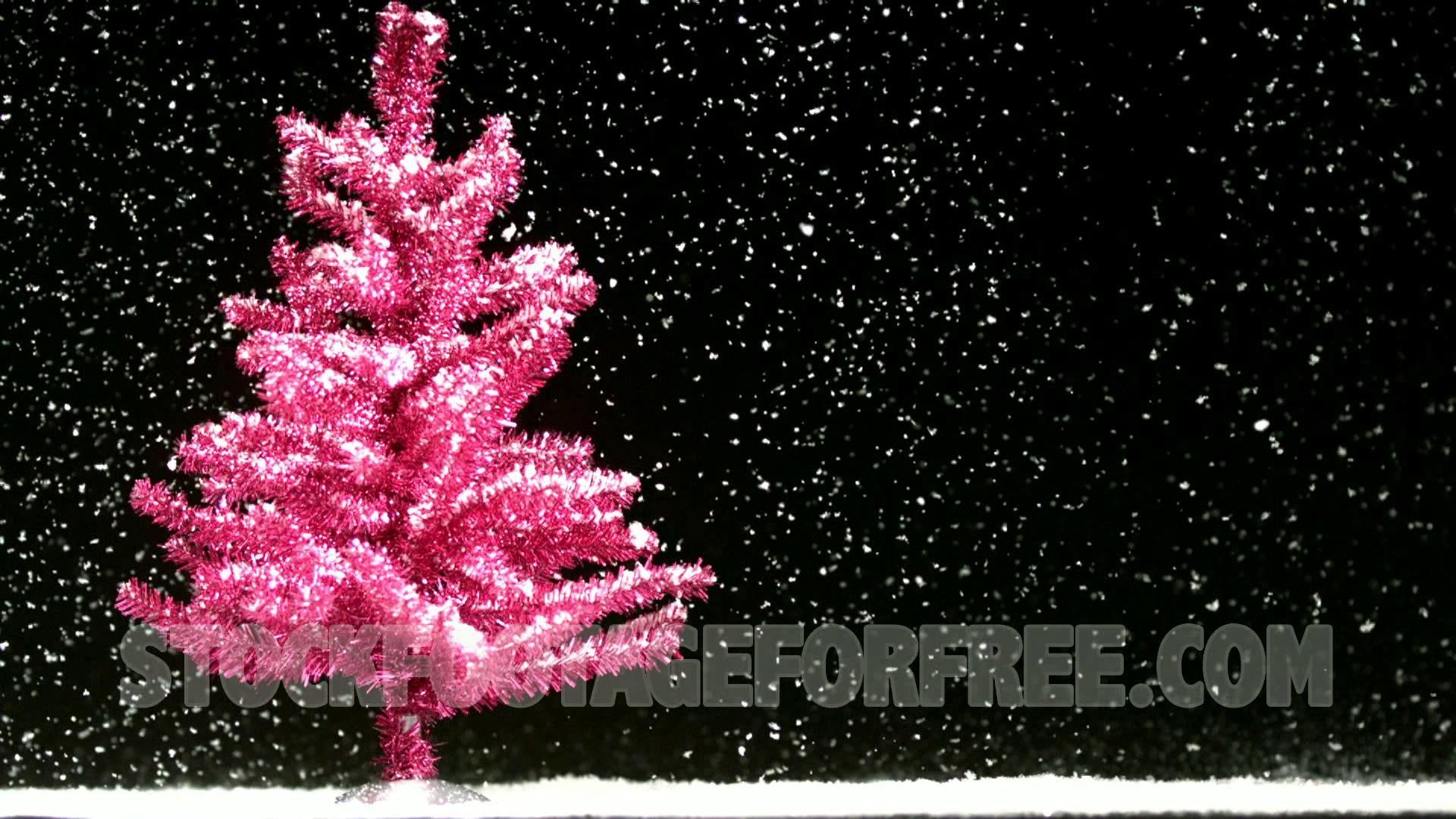 Free Pink Christmas Tree in Snowfall Winter Seasonal Stock Video – YouTube