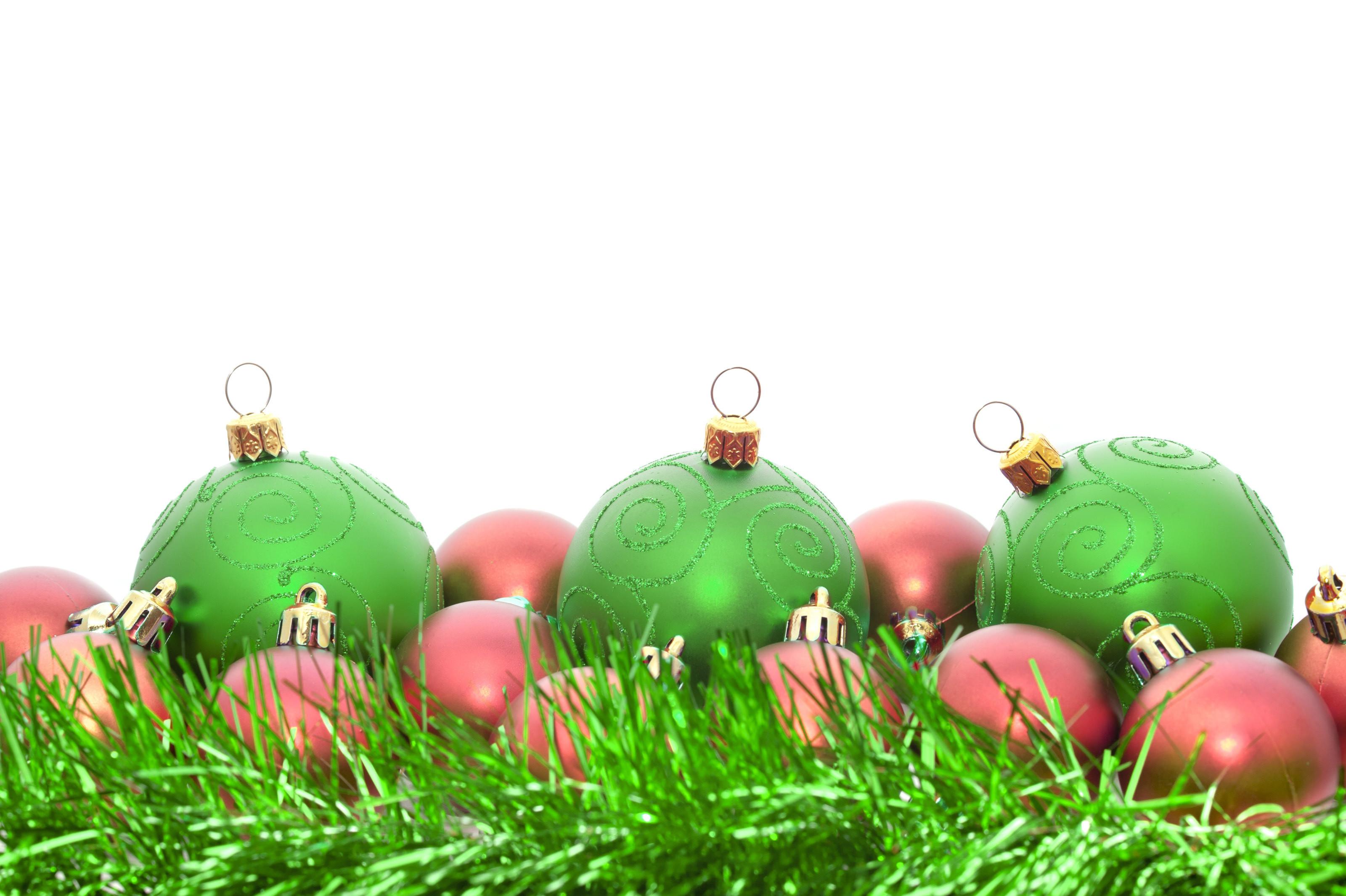 Green and pink Christmas toys on Christmas
