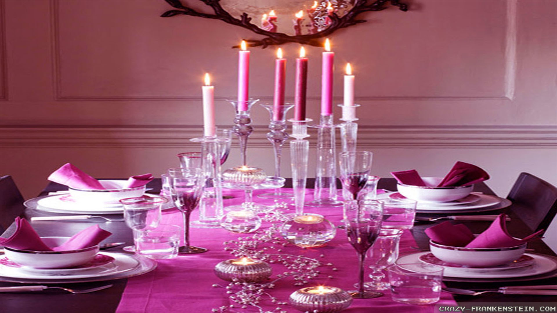 Wallpaper: Pink Christmas romantic table wallpapers. Resolution: 1024×768 |  1280×1024 | 1600×1200. Widescreen Res: 1440×900 | 1680×1050 | 1920×1200