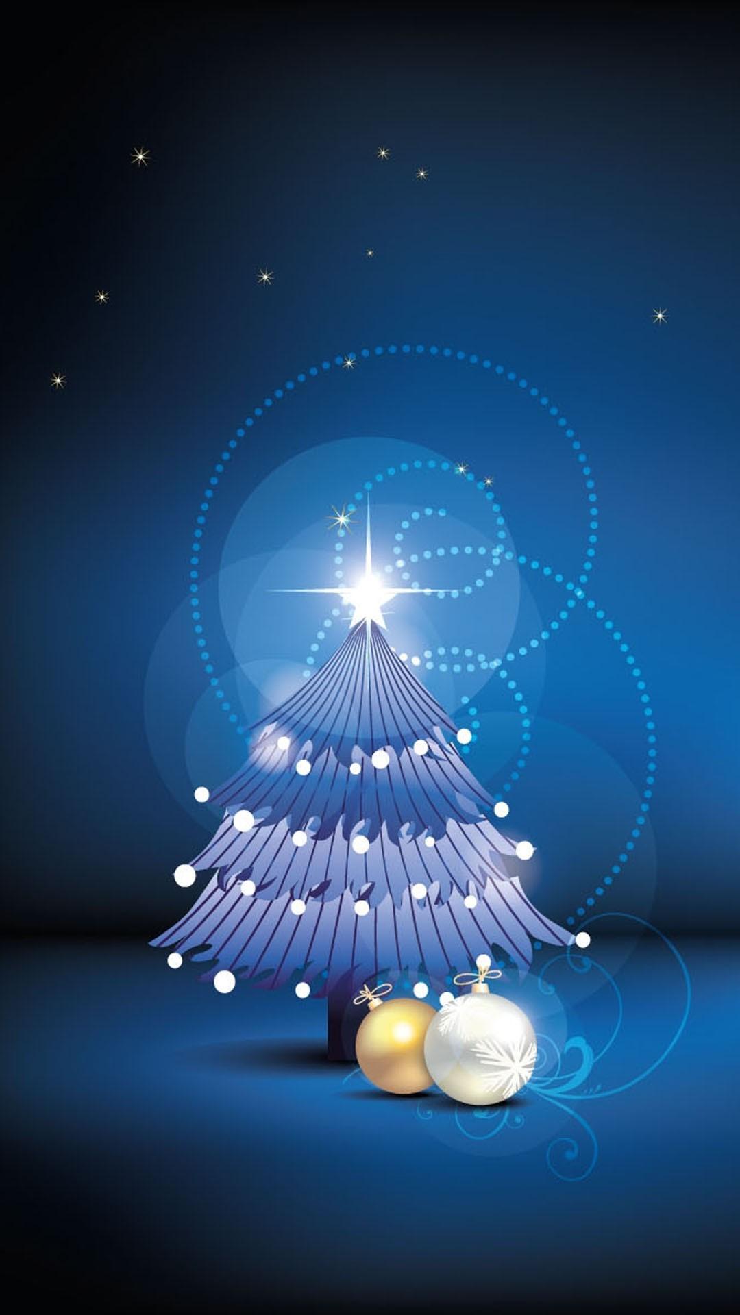 Night Christmas tree iPhone 6 plus wallpaper – stars