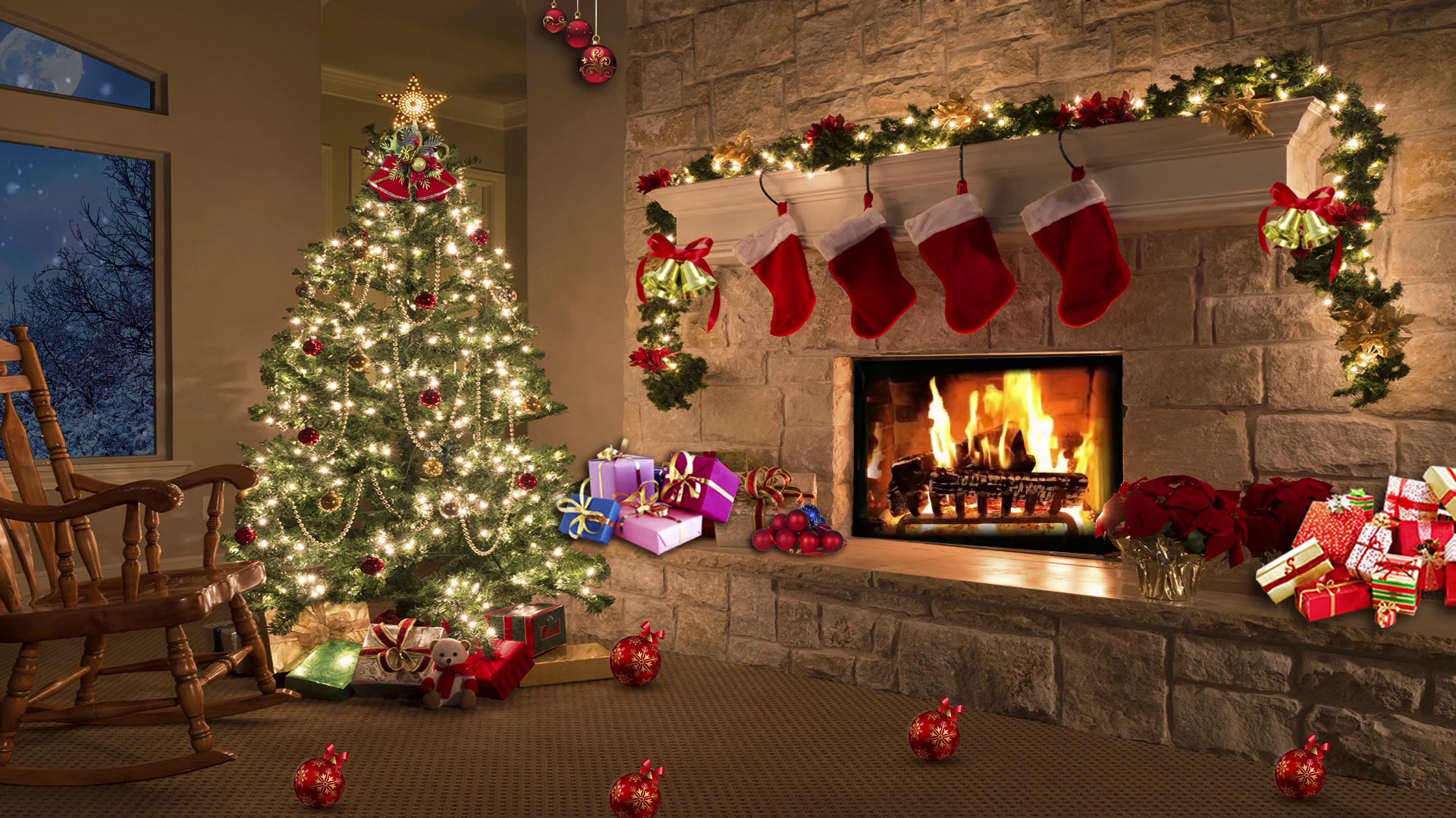 Subscription Library Christmas Tv Studio Set 11 Virtual Green Screen  Background Loop