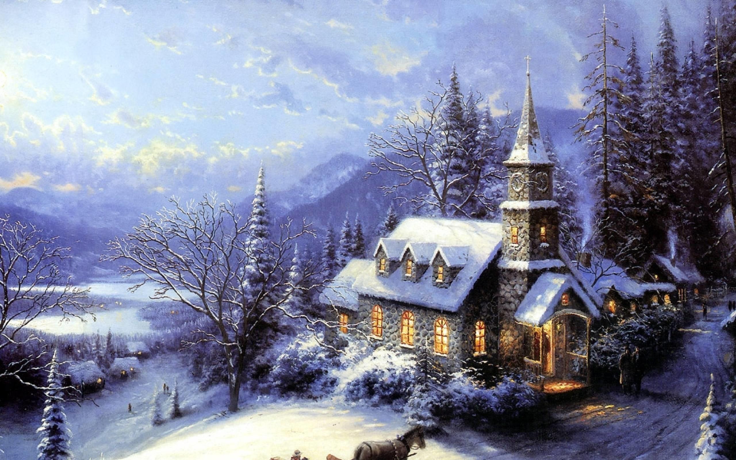 Xmas Stuff For > Thomas Kinkade Christmas Tree Wallpaper