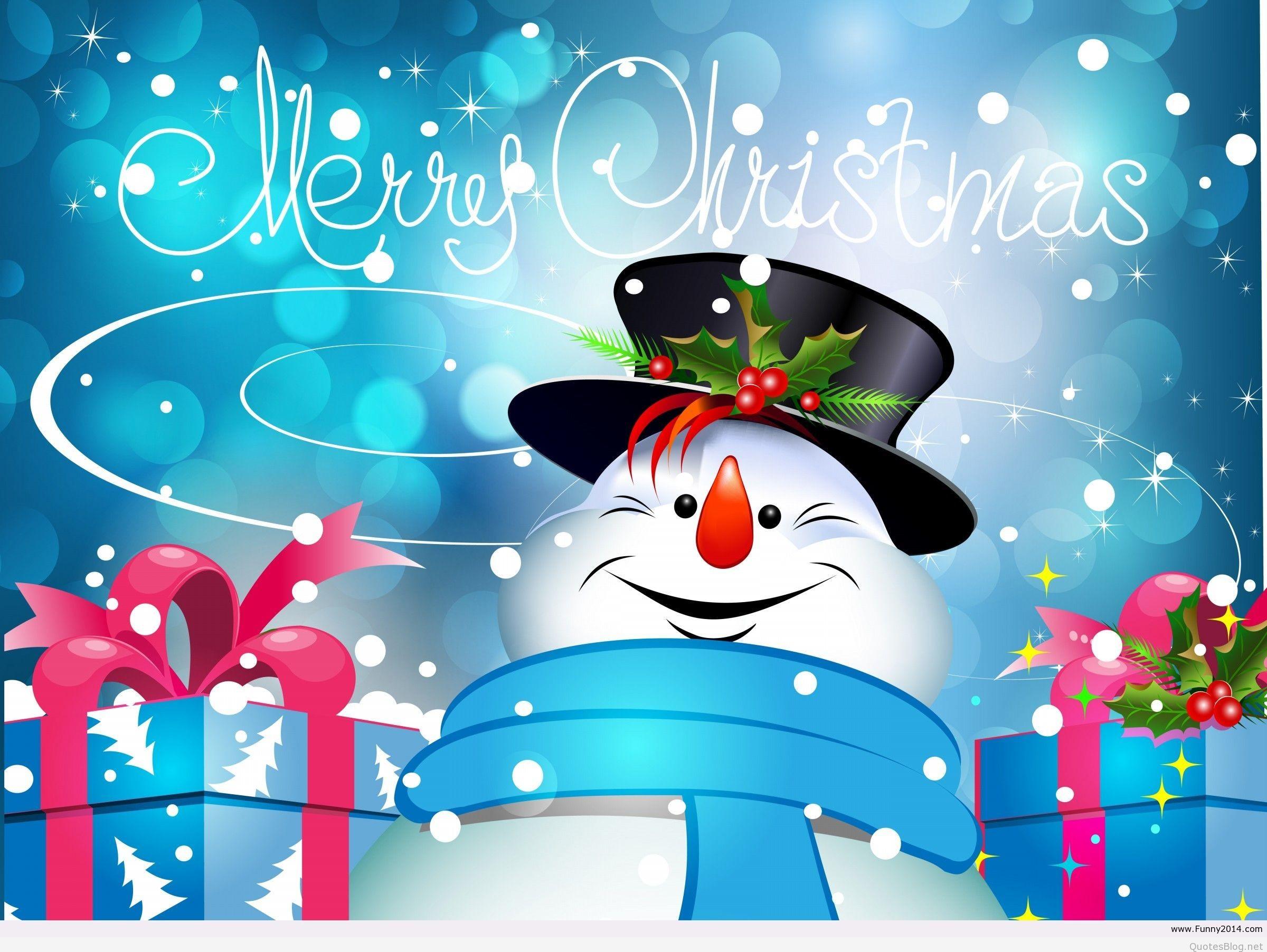 Cartoon-Snowman-Merry-Christmas-Artwork-Wallpaper