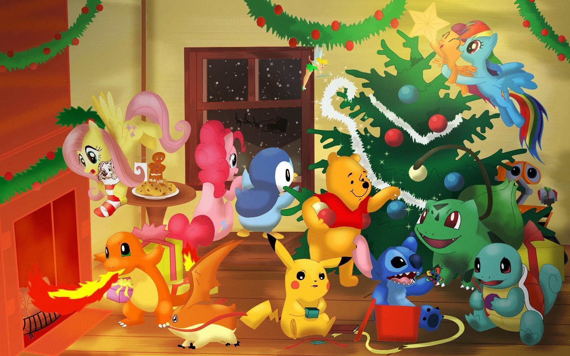 Merry Christmas cartoon charcters Wallpaper #