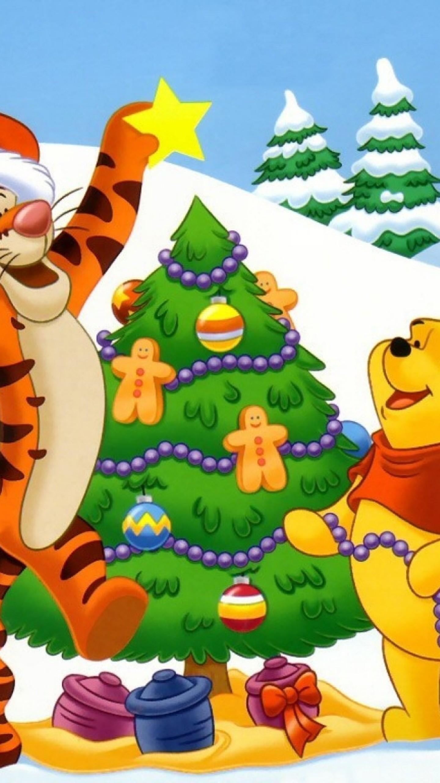 Wallpaper new year, christmas, cartoon film, bear cub, tiger,  winnie