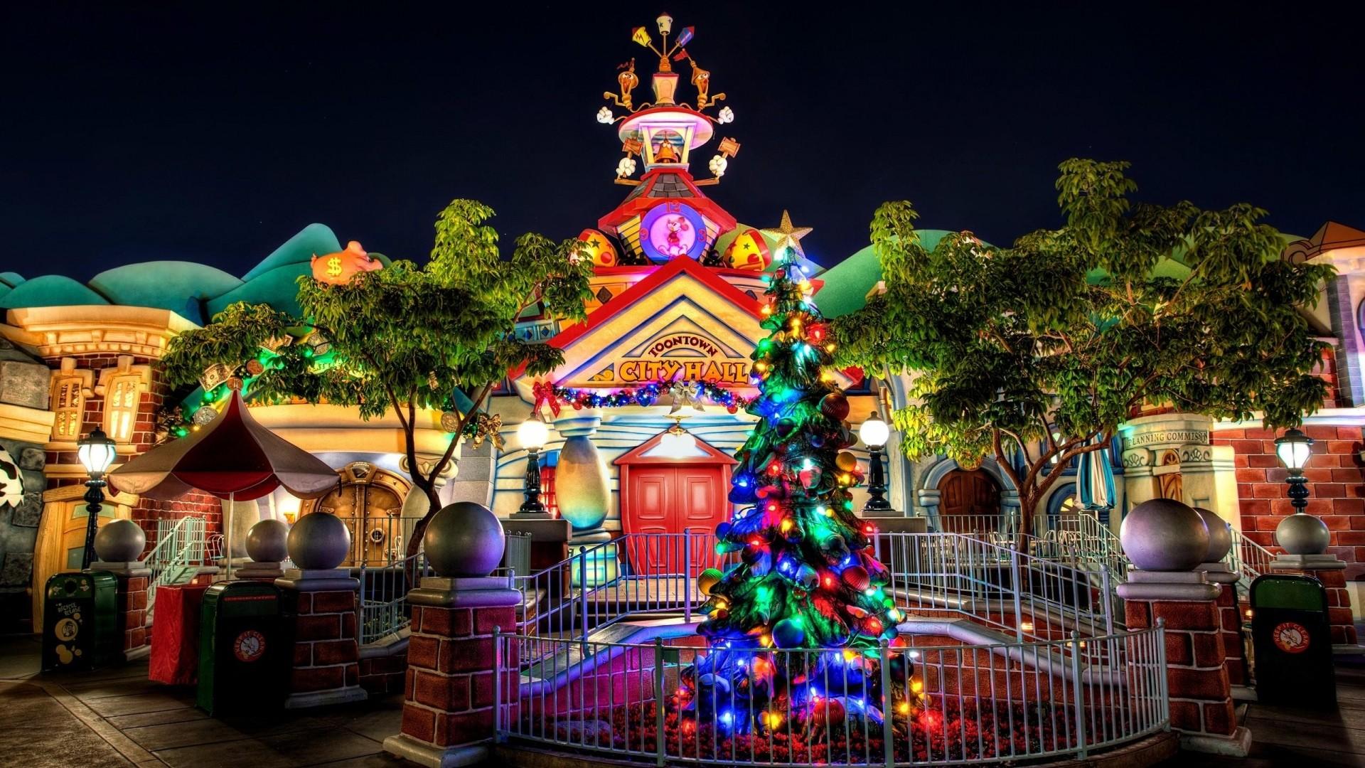 Preview wallpaper christmas tree, garland, building, entrance, celebration,  christmas, cartoon