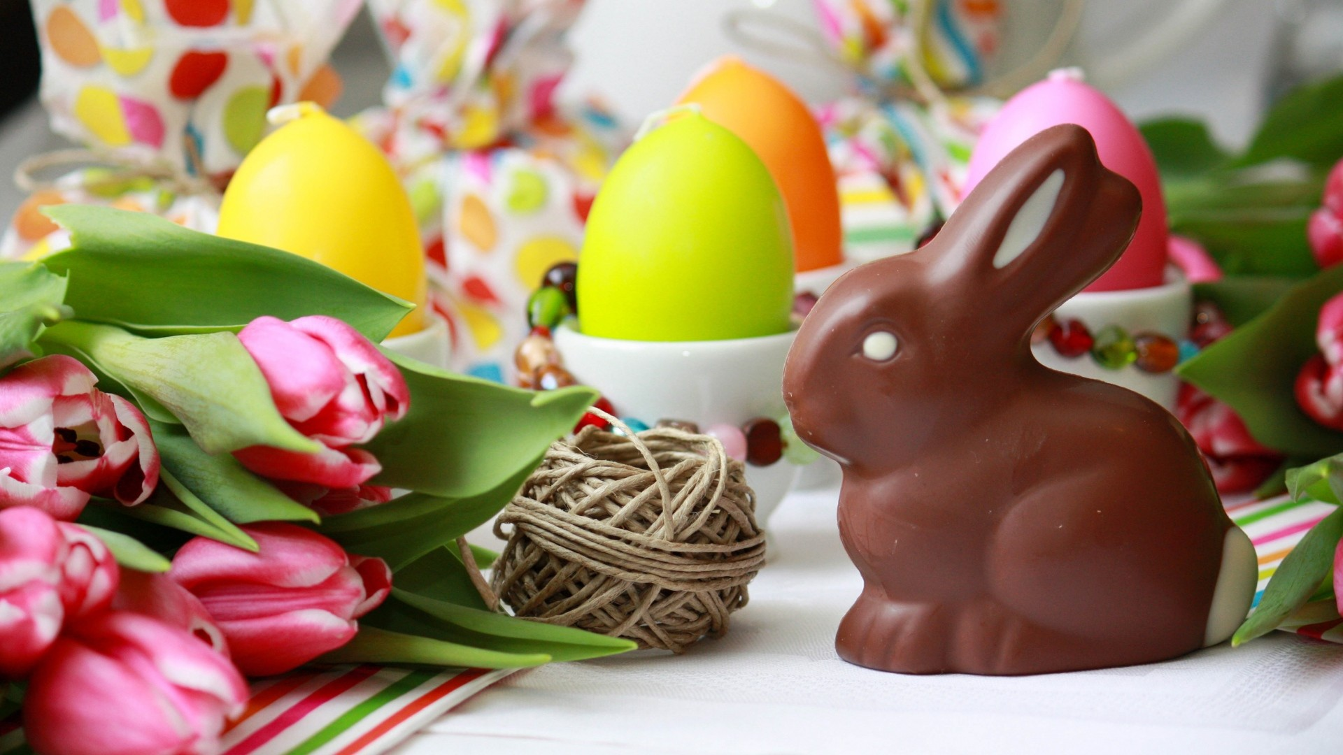 Wallpaper easter bunny, chocolate, tulips, eggs, table