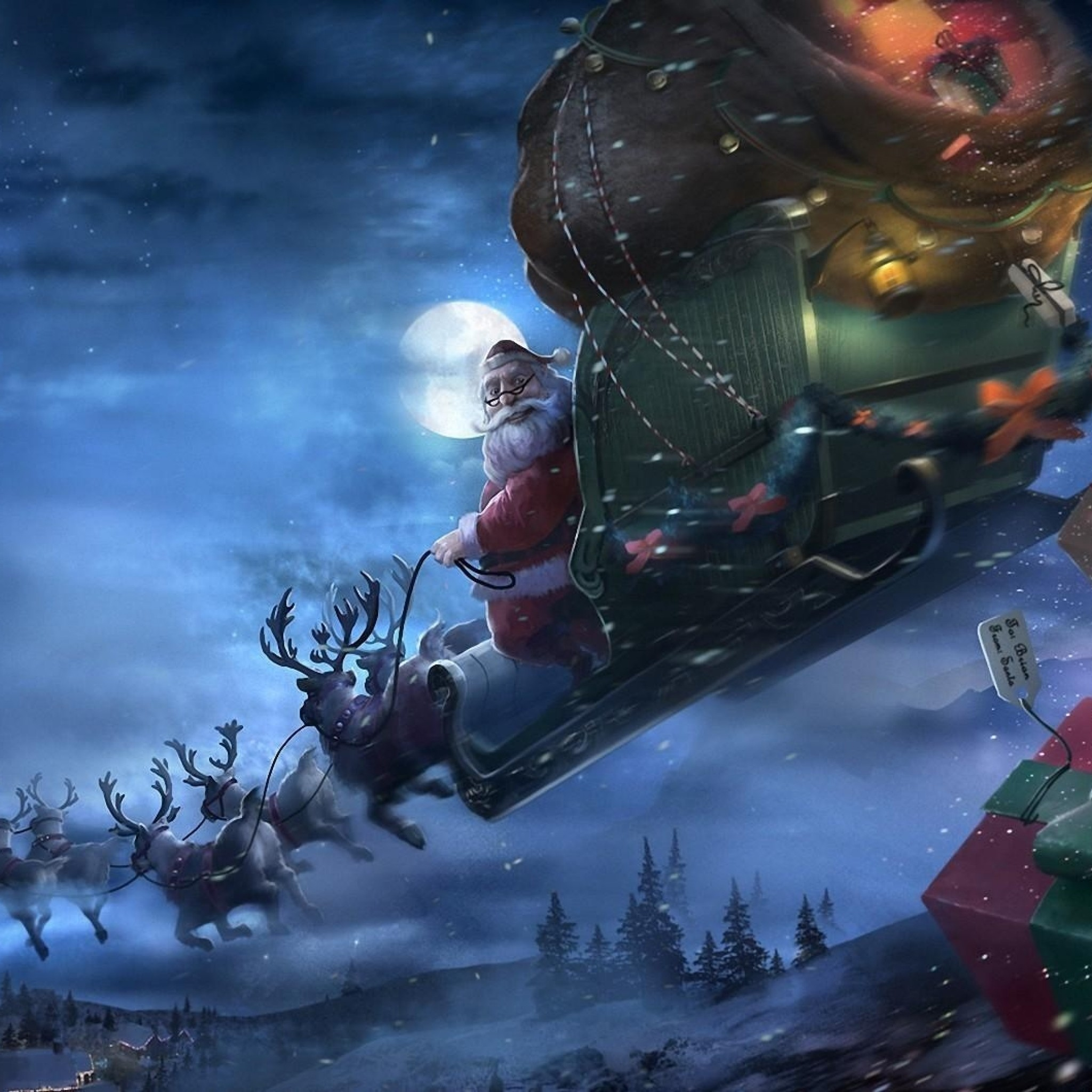 Preview wallpaper santa claus, reindeer, sleigh, flying, gifts, christmas  2048×2048