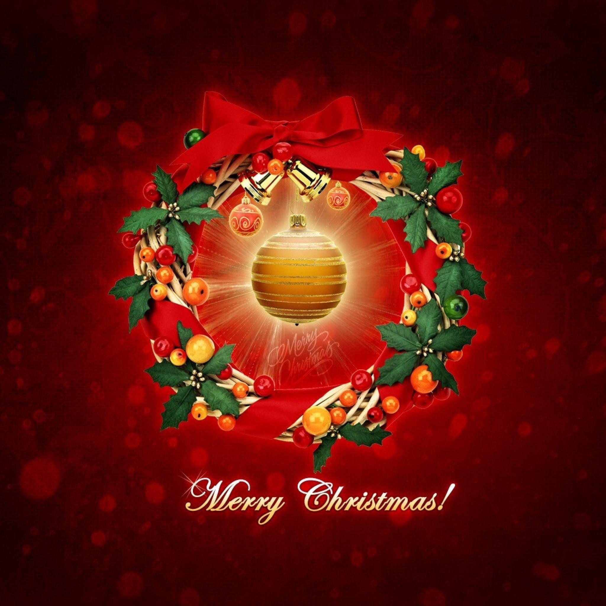 Wallpaper new year, christmas, wreath, sphere, congratulation