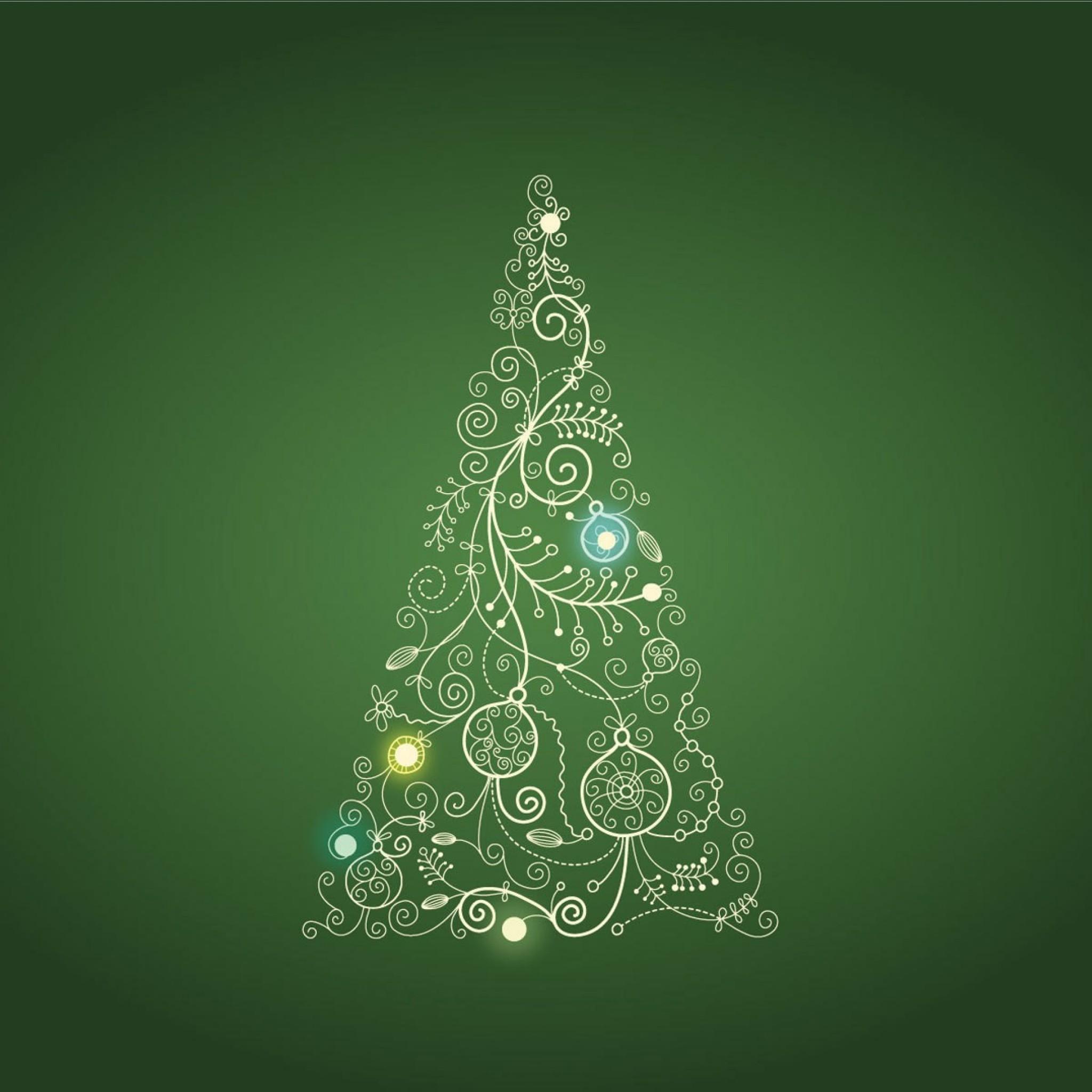 1389 2: Christmas Tree on Green Background Illustration iPad wallpaper