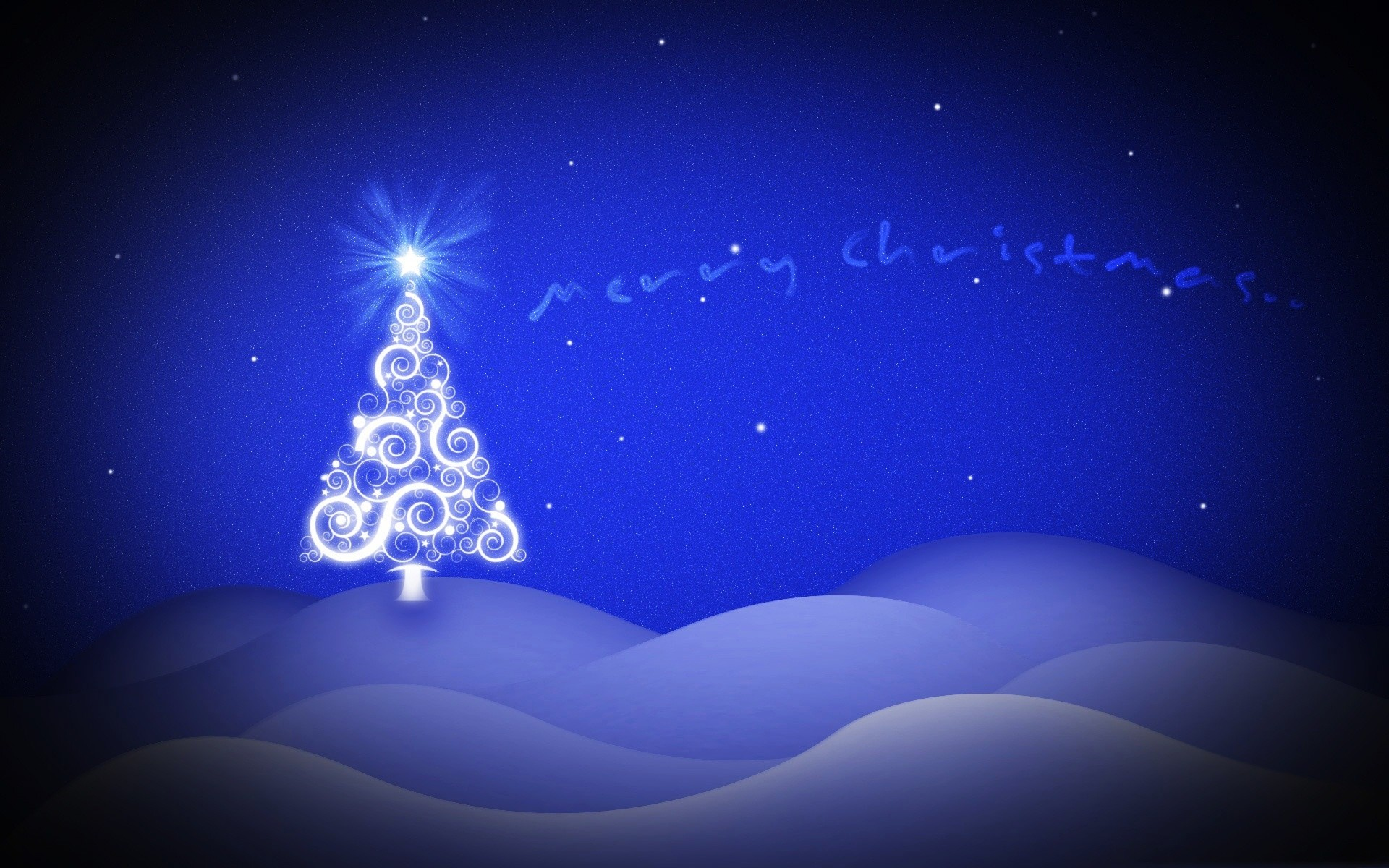 Merry Christmas Blue Stars HD Wallpapers