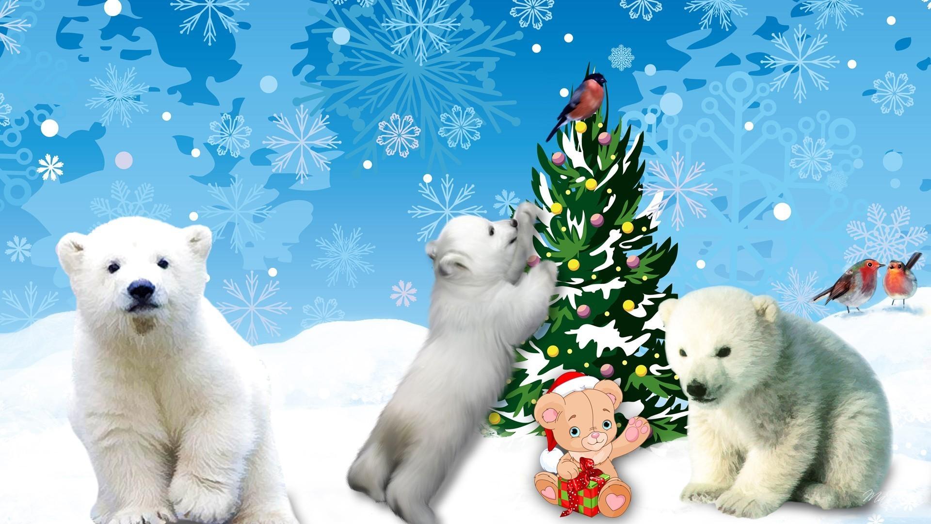 Snow Cute Polar Christmas Tree Winter Decorate Bears Animated Wallpaper  Windows 7 Detail