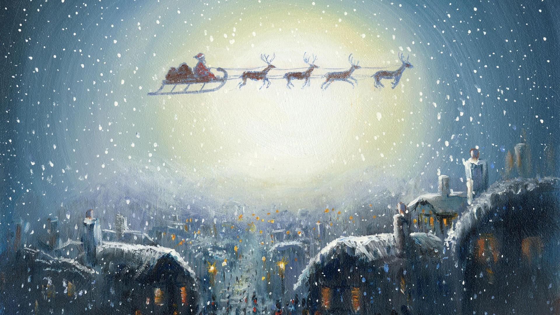 Cosy Santa Claus Christmas Art Desktop Wallpaper   WallpaperCow.com