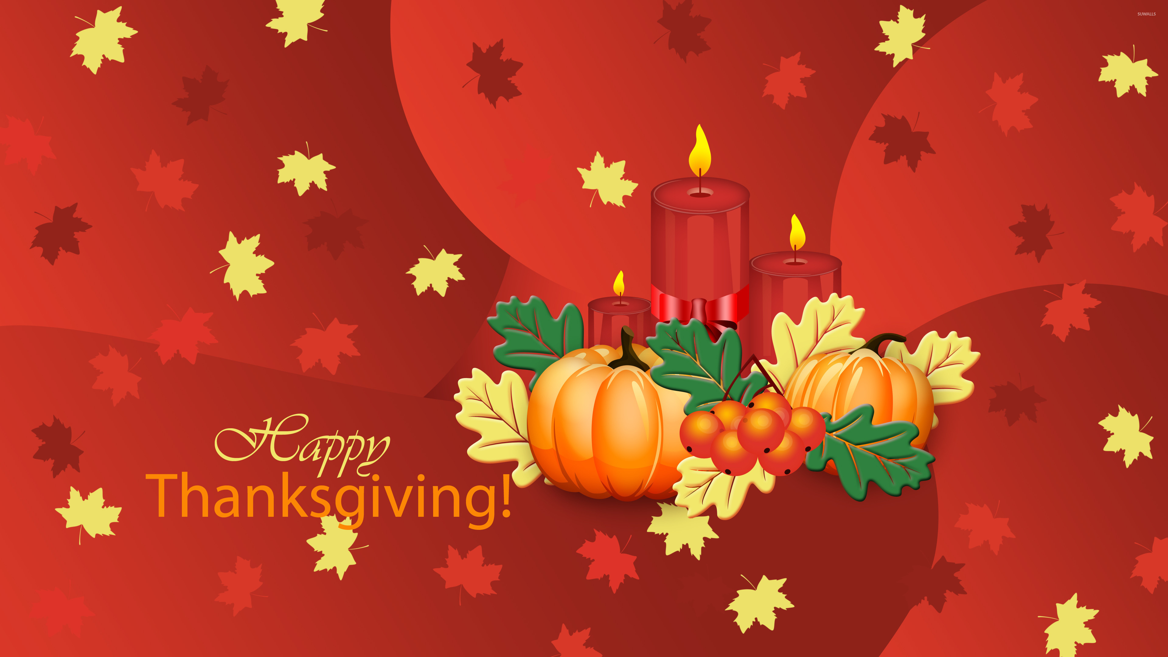 Pumpkins and candles on Thanksgiving wallpaper jpg