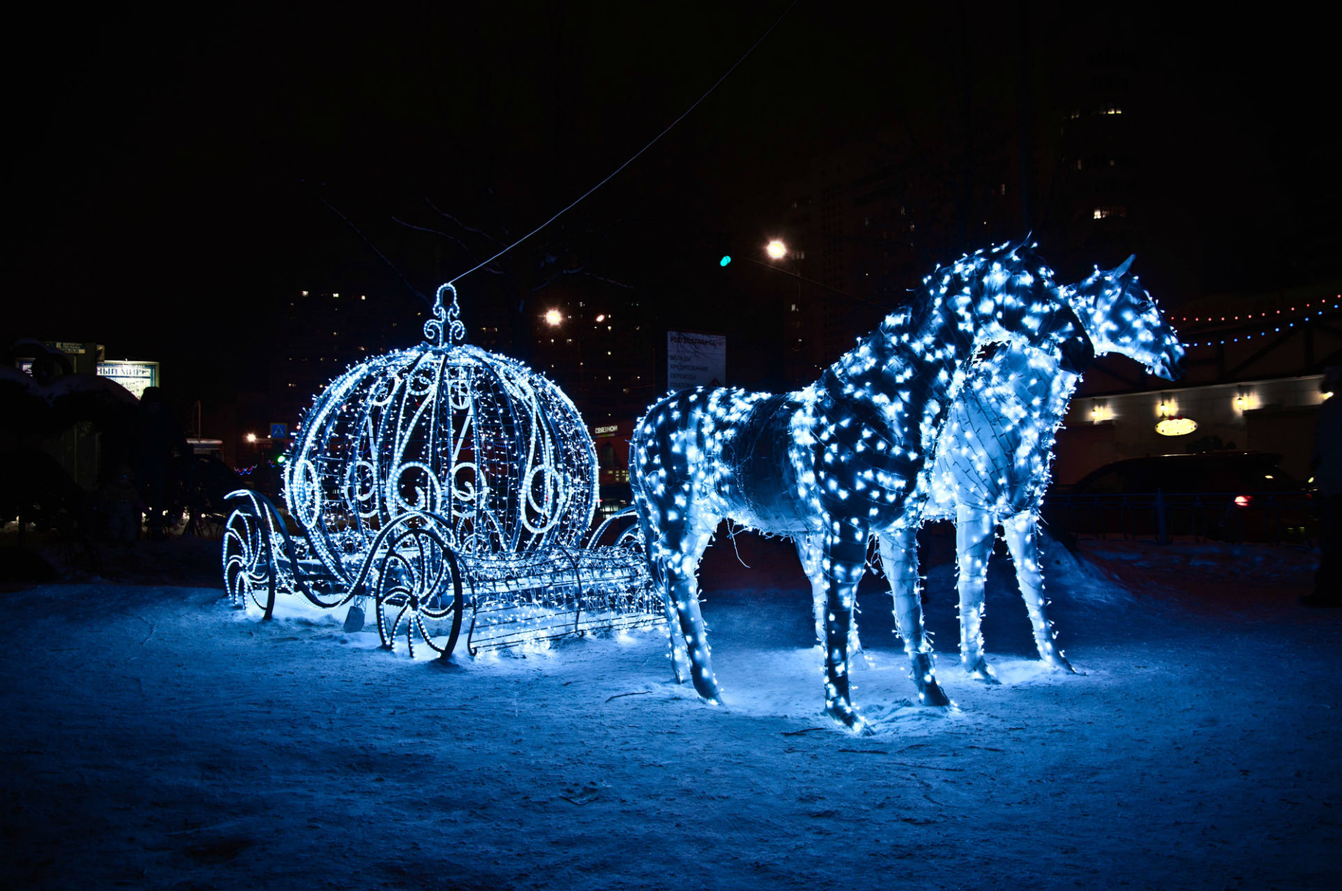 horses light holiday coach vehicles princess winter christmas .