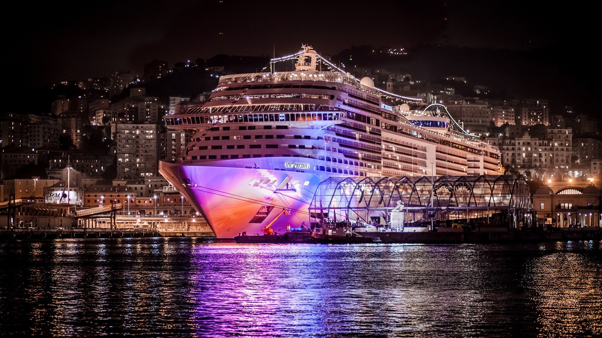 A Massive Cruise Ship Docked At Night HD Desktop Background wallpaper free