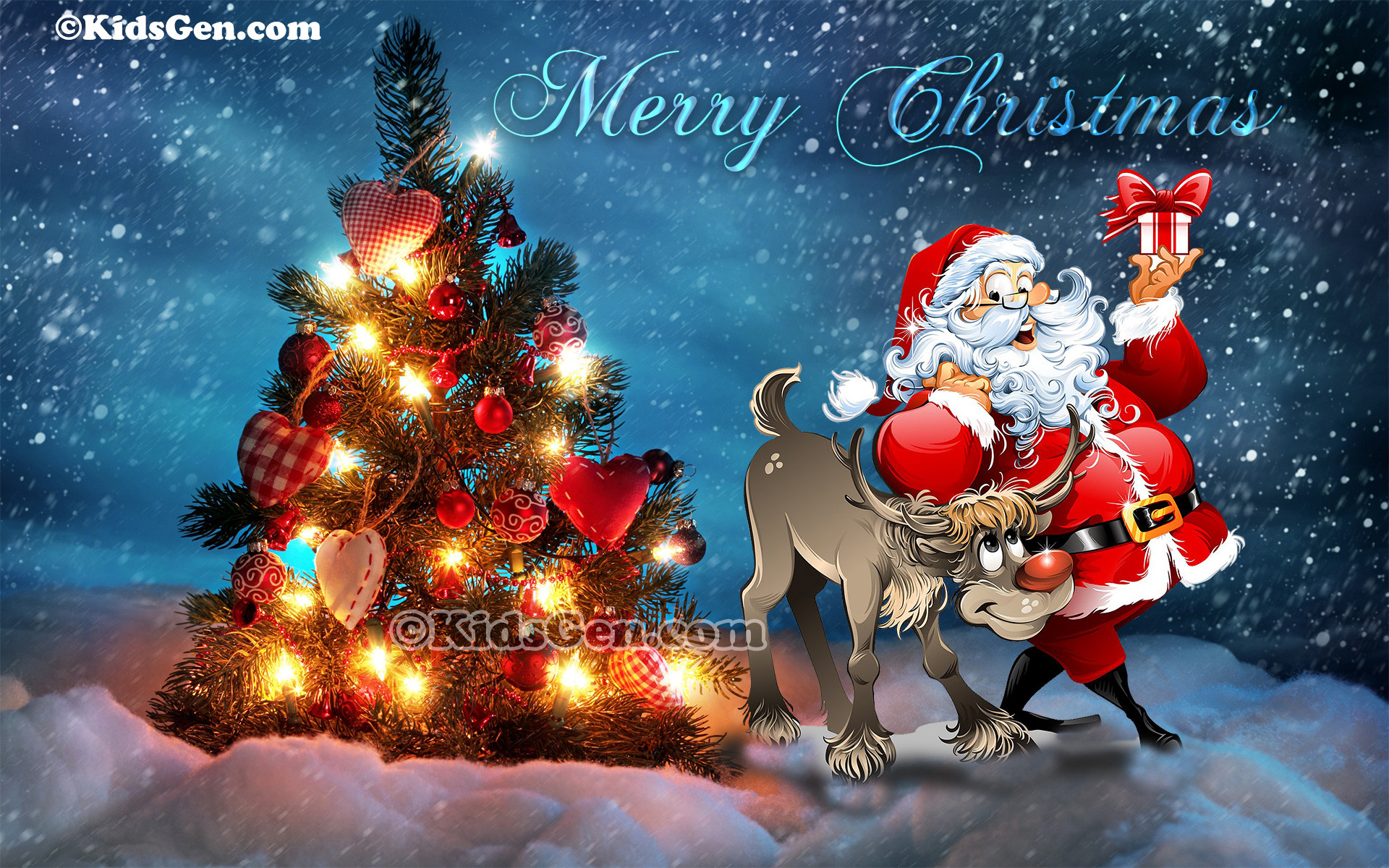 High Definition Christmas wallpaper featuring Santa and Rudolph