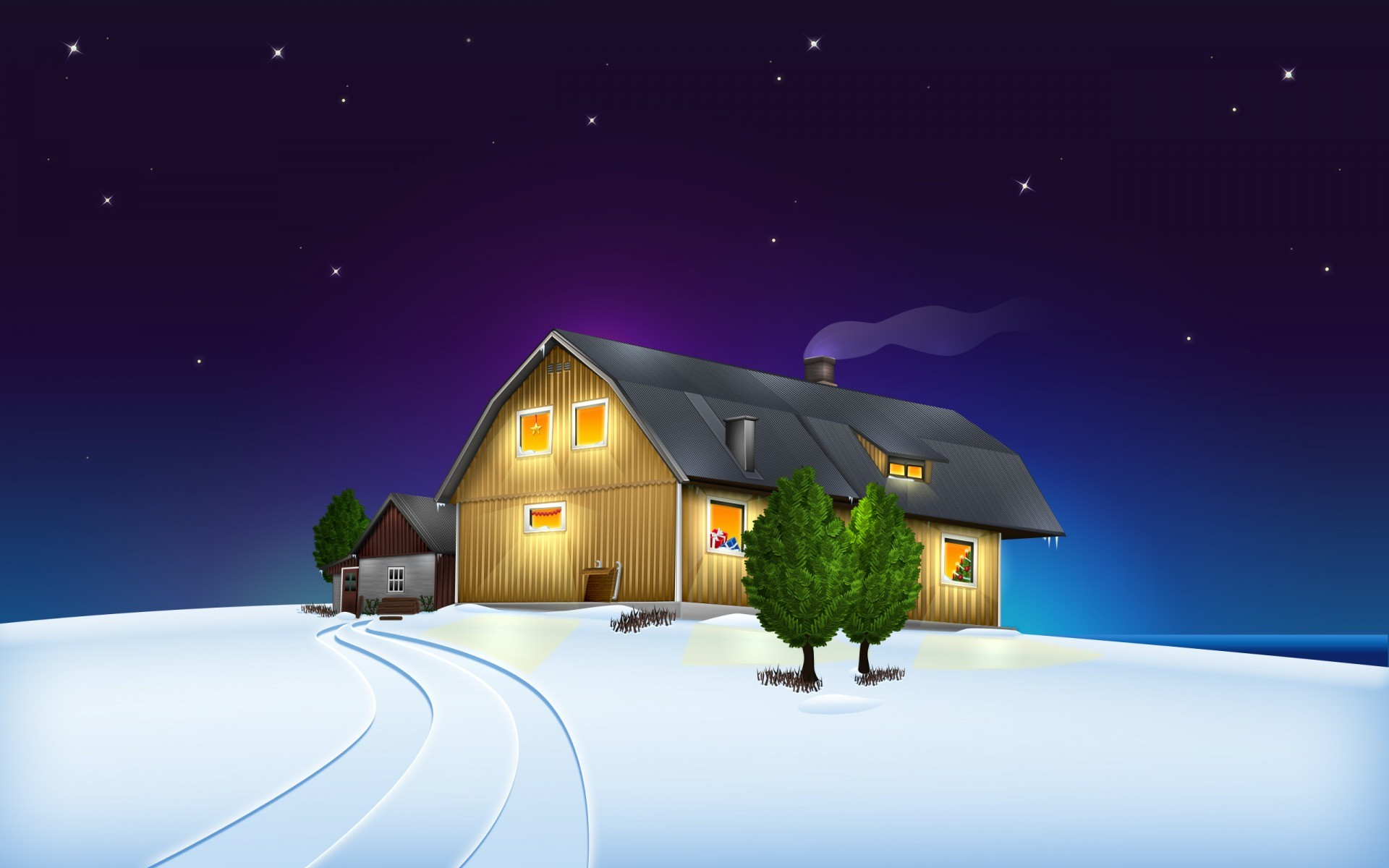 Christmas House Desktop Wallpapers | WallpaperCow.com