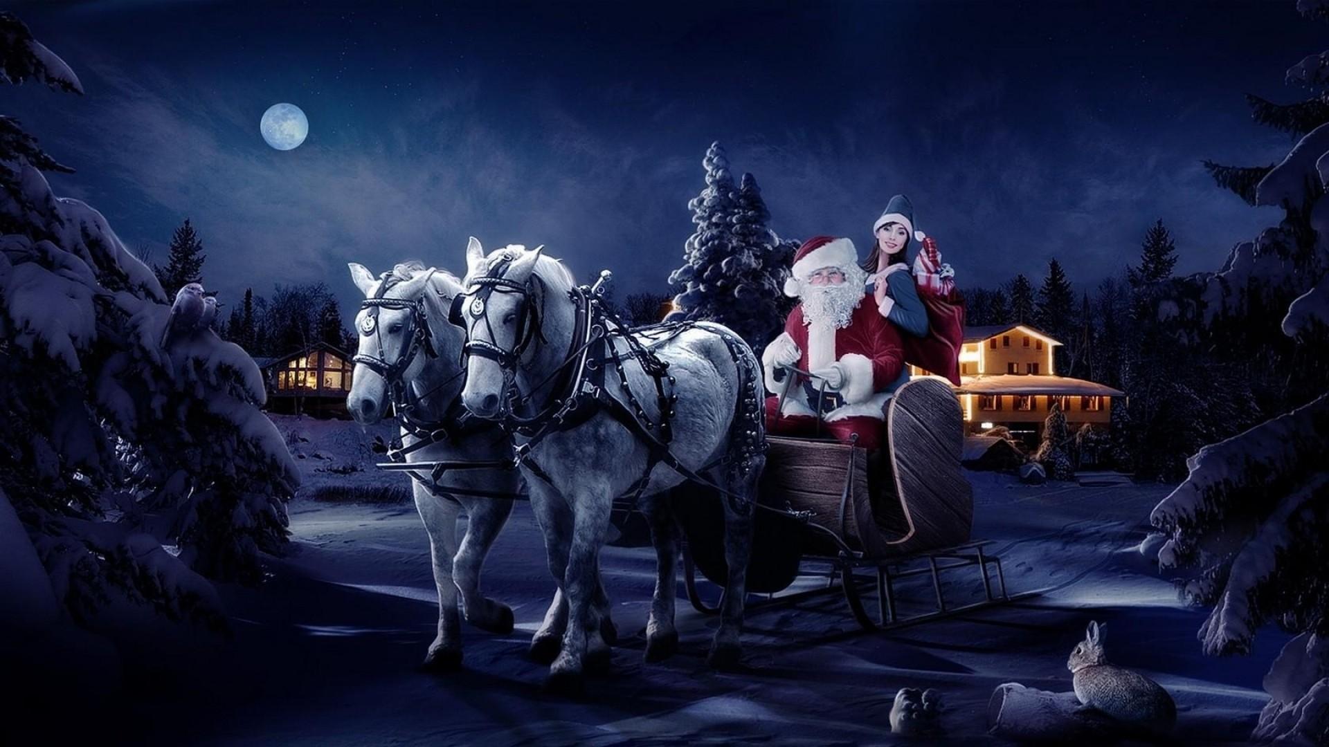 Preview wallpaper santa claus, sleigh, girl, horse, tree, night, christmas