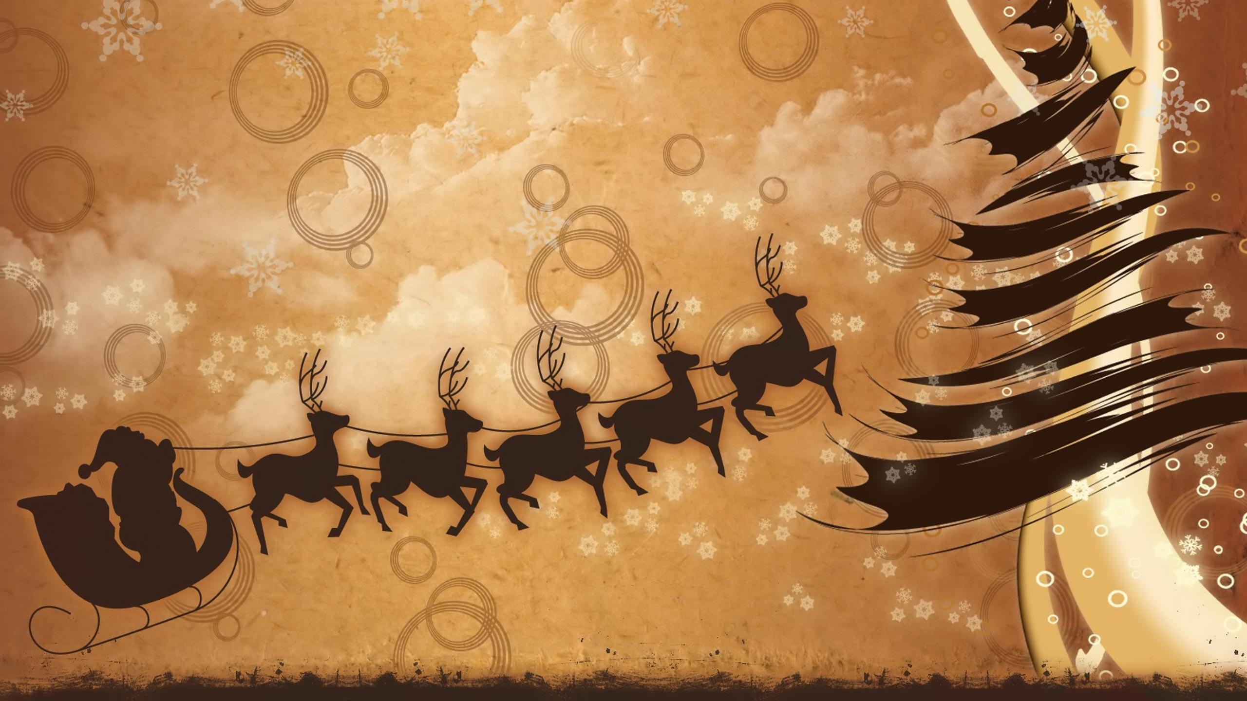 Santa Claus Reindeer Sleigh Wallpaper Download