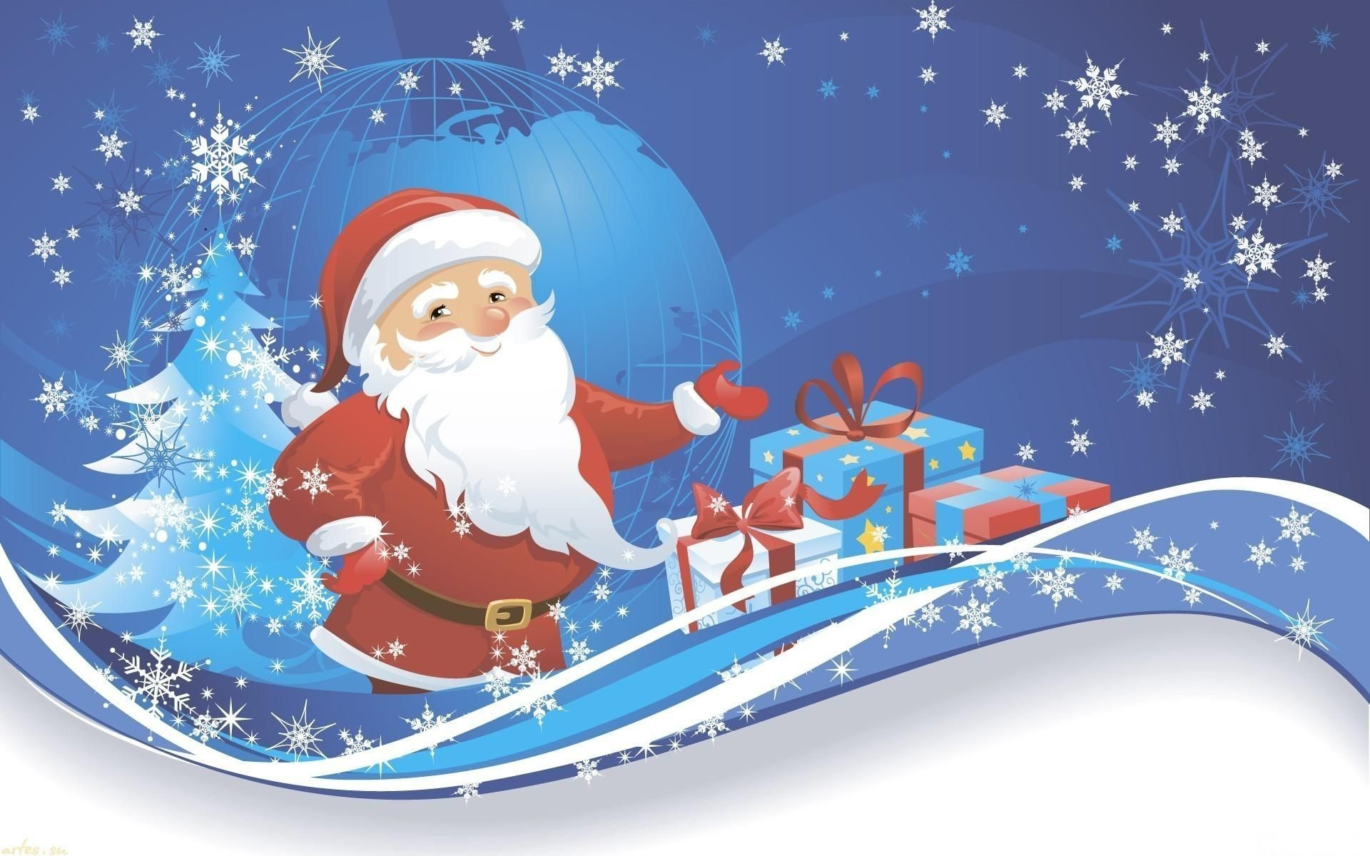 Cartoon Santa Claus Wallpaper HD #10786 Wallpaper